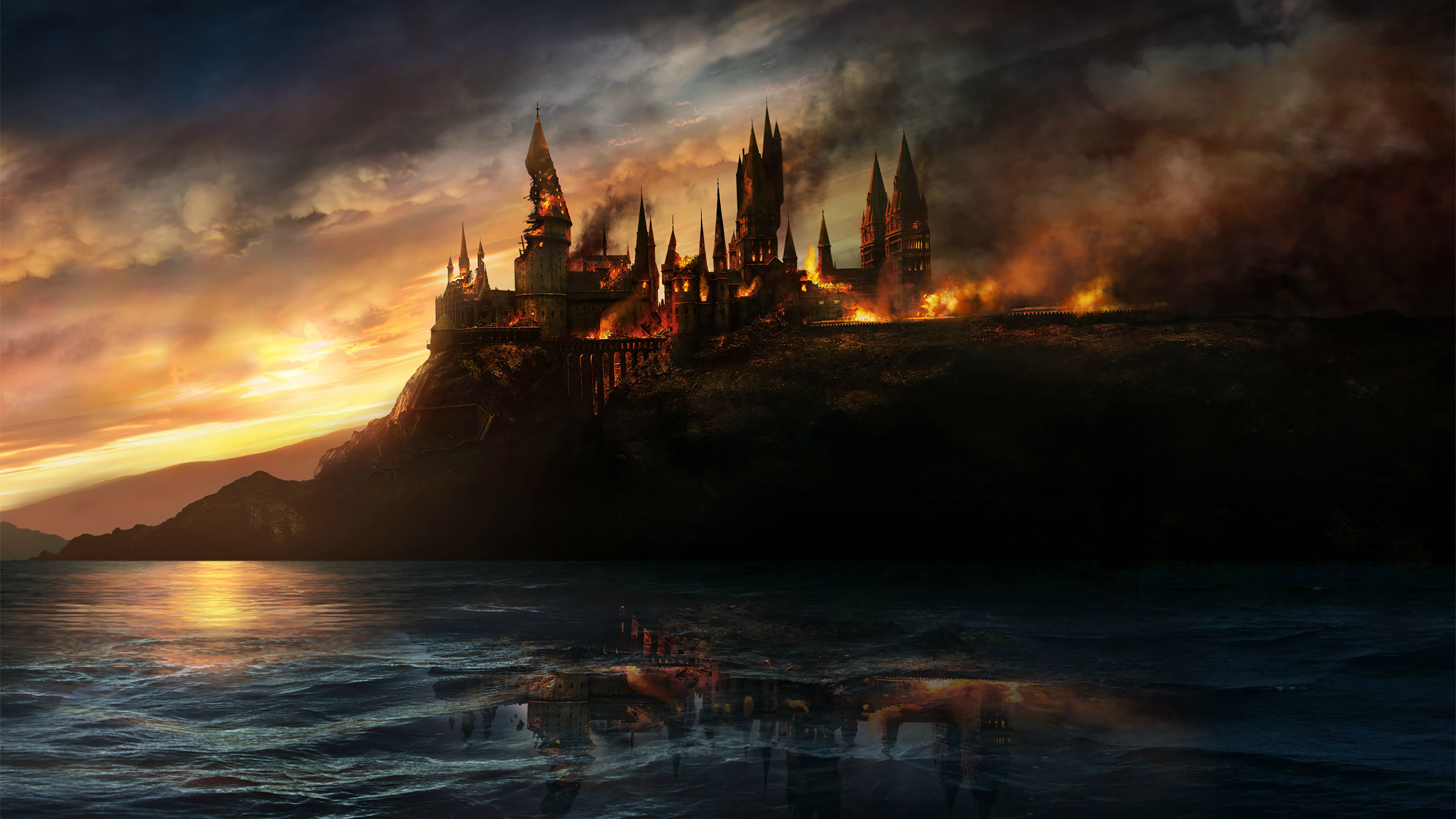 General 3800x2138 Hogwarts Harry Potter movies fire burning