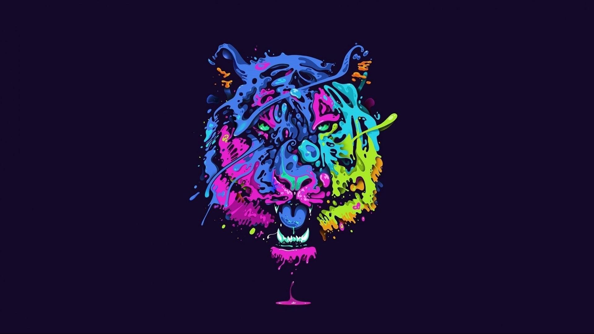 General 1920x1080 tiger animals big cats artwork colorful neon
