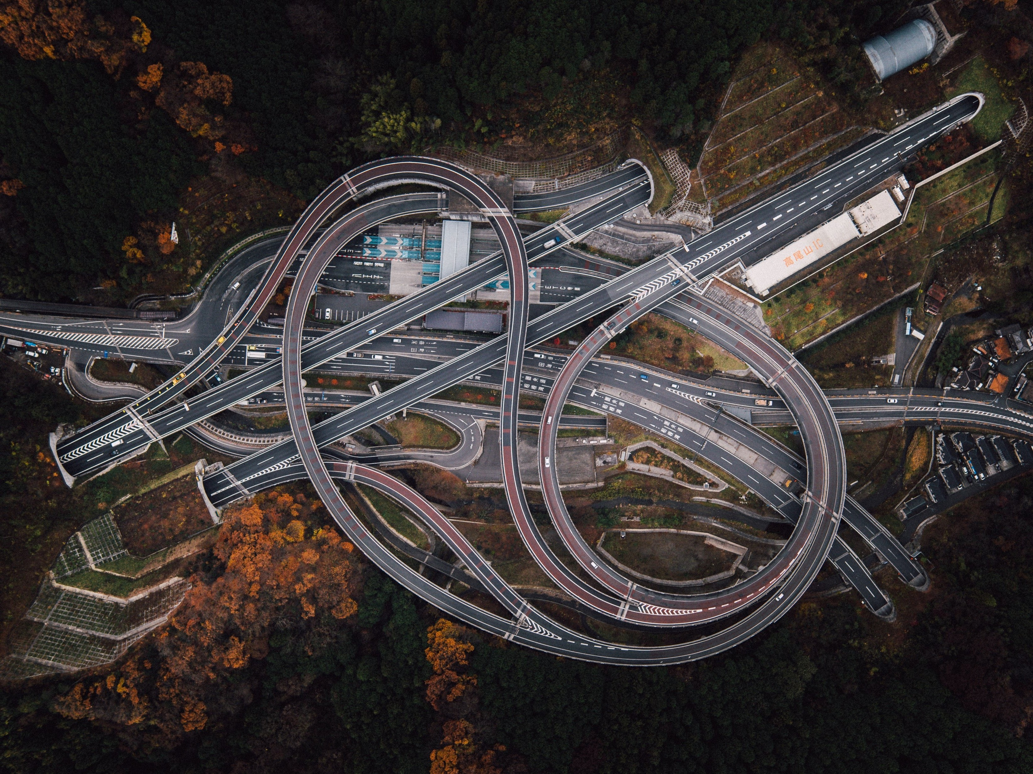 General 3335x2500 aerial view trees highway road fall forest crossroads Japan tunnel car drone photo bird's eye view