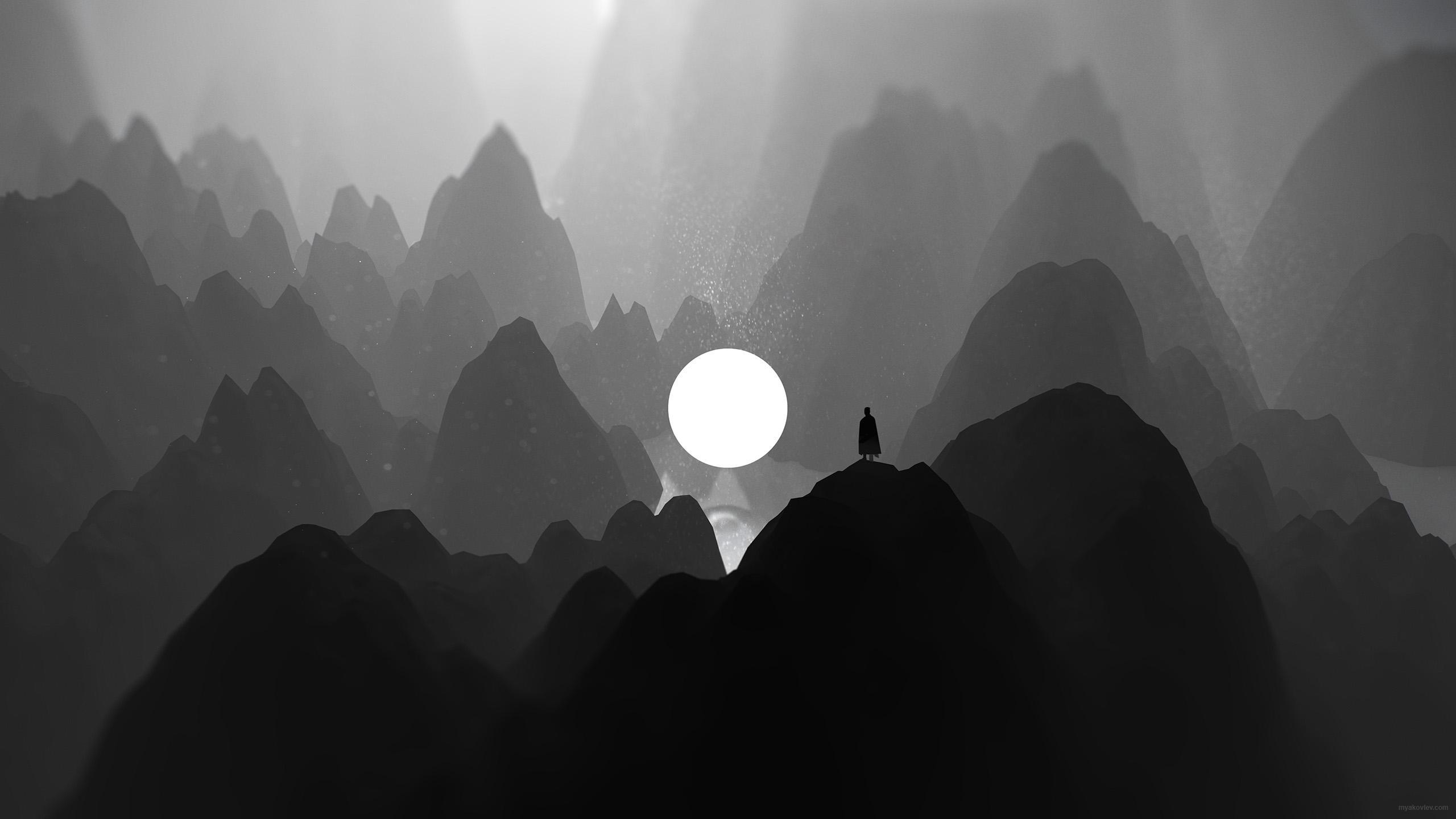 General 2560x1440 artwork digital art monochrome loneliness alone