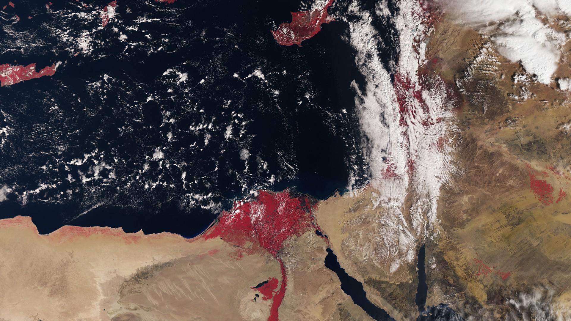 General 1920x1080 satellite imagery Mediterranean sea Nile Egypt Israel