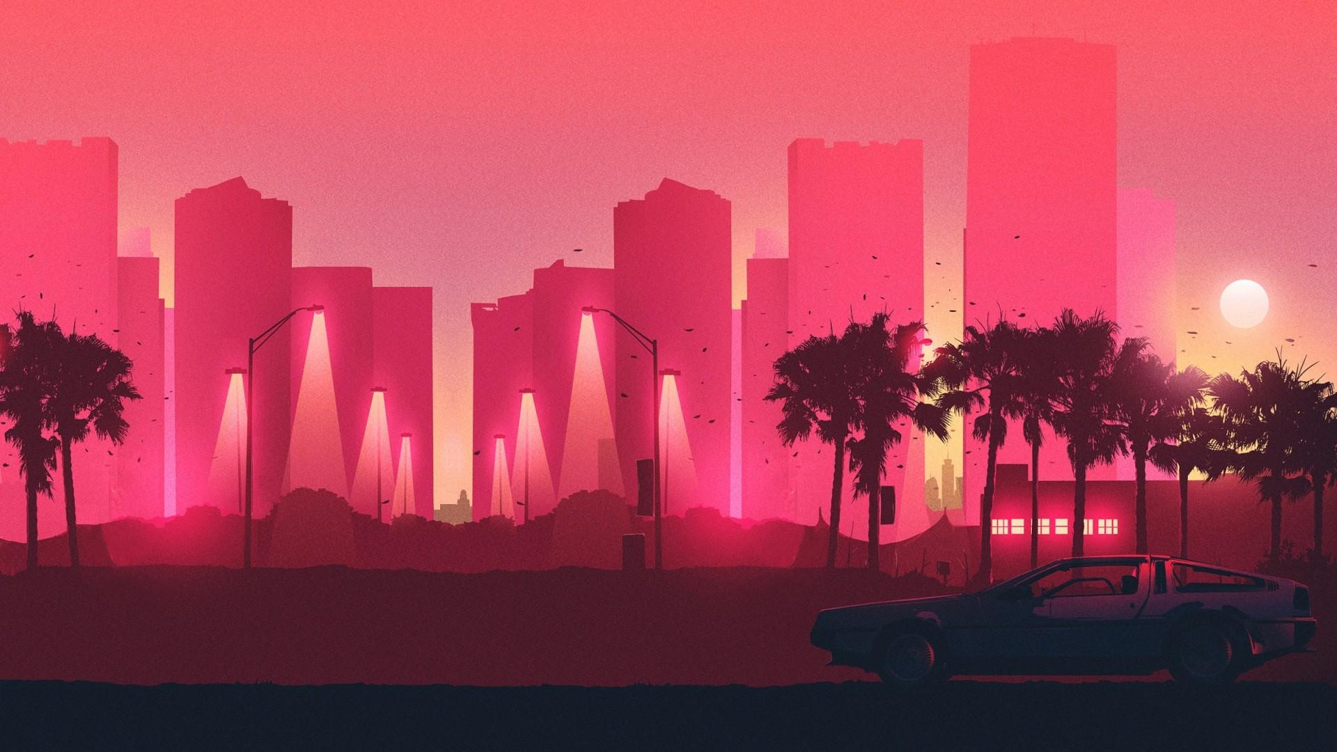 General 1920x1080 synthwave DMC DeLorean DeLorean palm trees Back to the Future artwork 80sCity pink cityscape car
