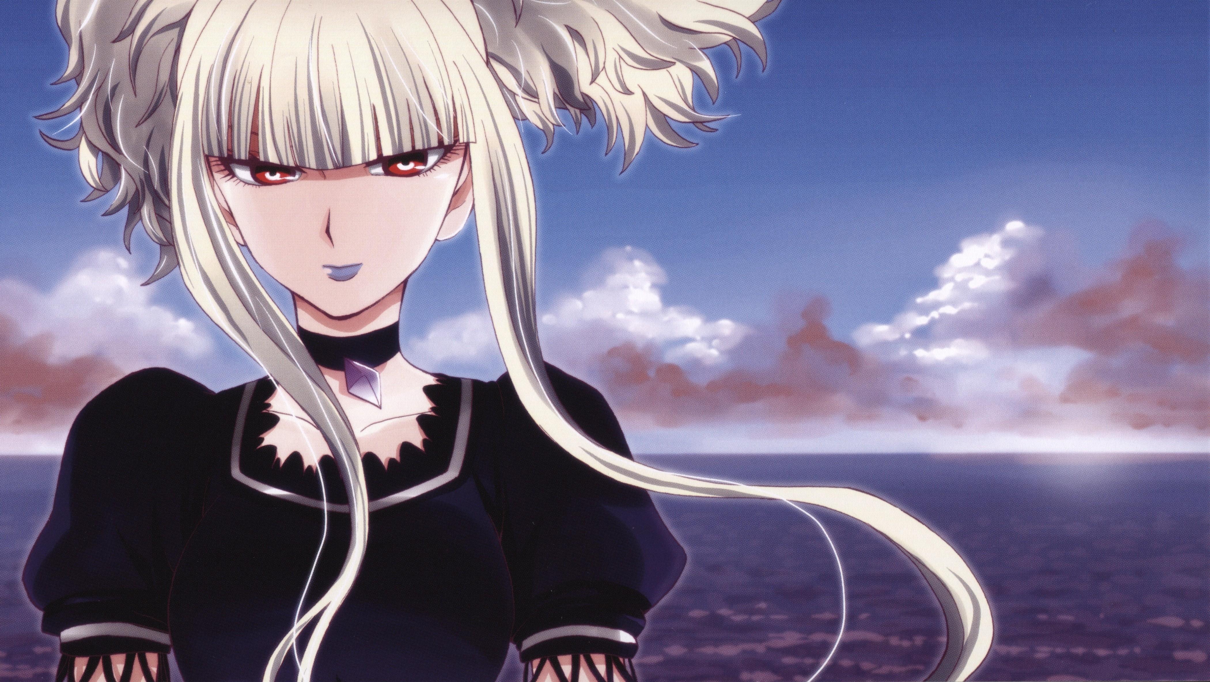 Anime 4201x2368 Aoki Hagane no Arpeggio Kongou (Aoki Hagane no Arpeggio) long hair blonde twintails sea red eyes collar