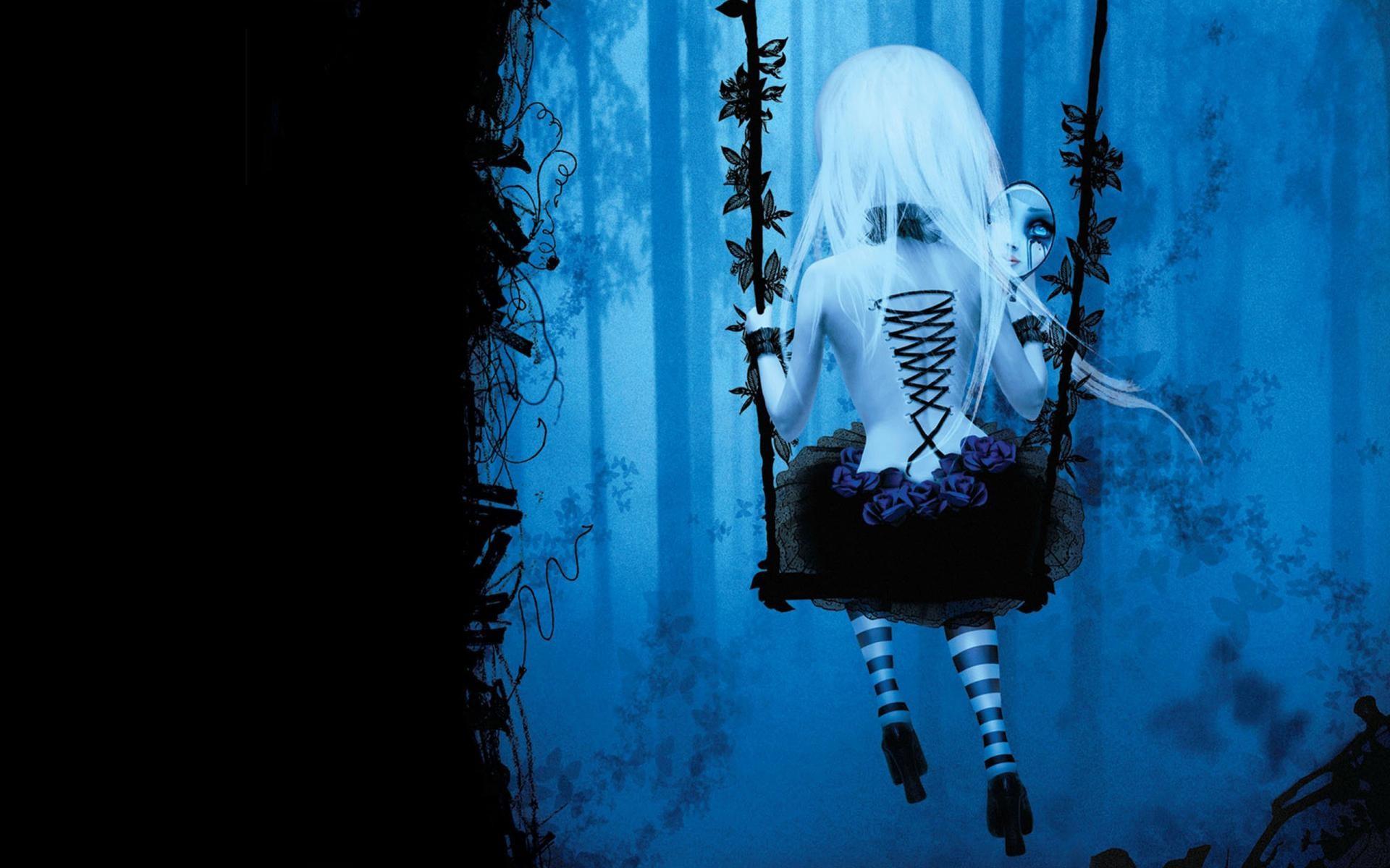 Anime 1920x1200 anime anime girls swings back stockings gothic lolita dark