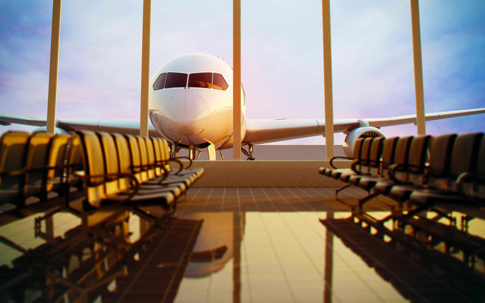 General 1920x1200 airplane passenger aircraft chair airport empty  window tiles clouds reflection sunlight 3D
