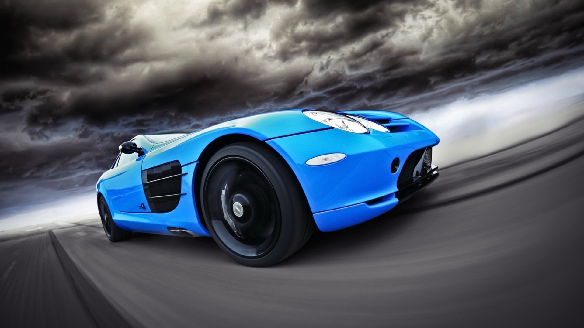 General 1920x1080 car Mercedes-Benz blue cars vehicle dark clouds
