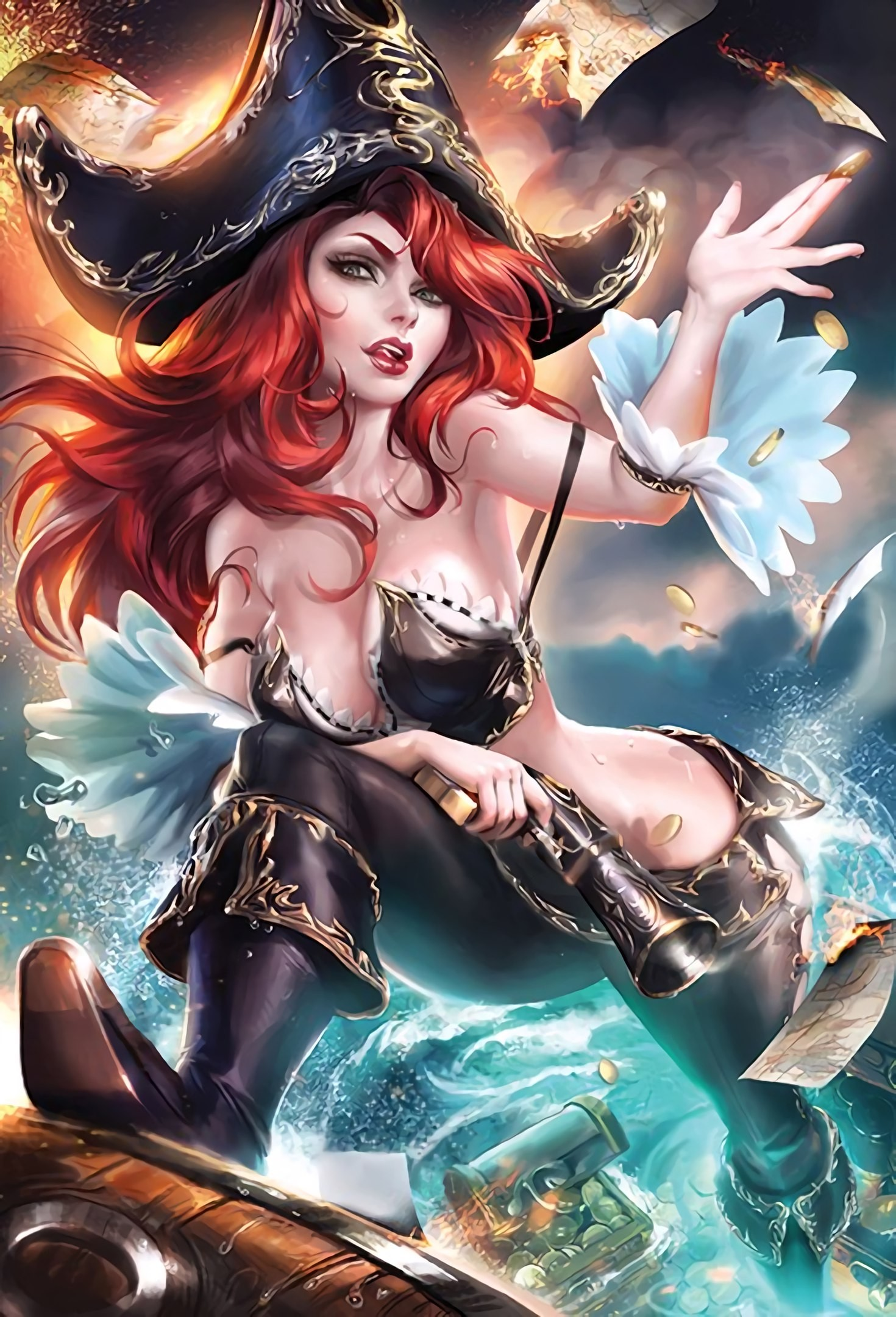 Anime 1470x2160 Sakimichan realistic redhead long hair Miss Fortune (League of Legends)