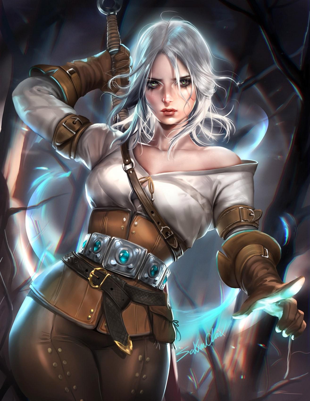 Anime 1314x1700 Sakimichan realistic The Witcher 3: Wild Hunt fantasy girl sword Cirilla Fiona Elen Riannon video games