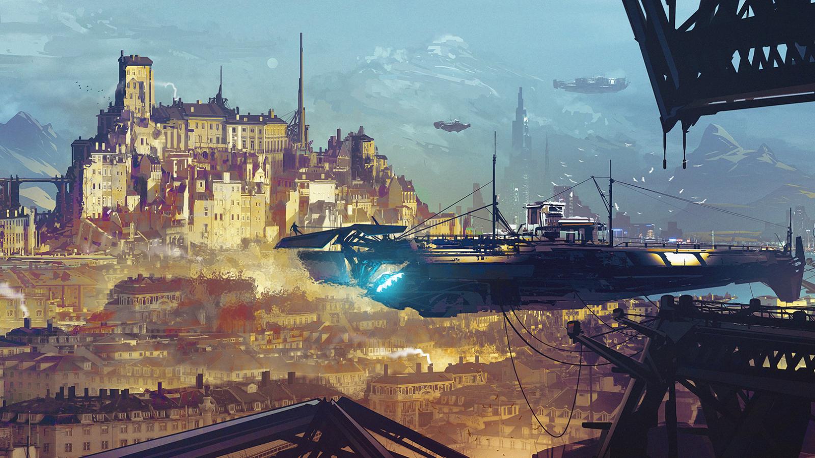 General 1600x900 digital art futuristic futuristic city spaceship building dock mountains science fiction city
