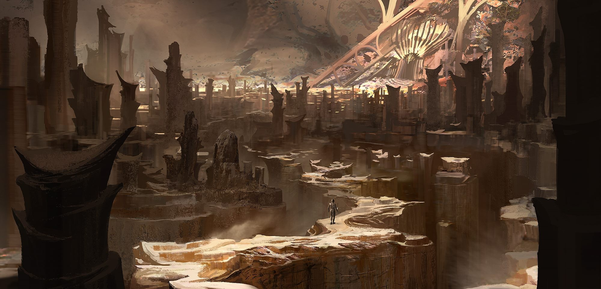 General 2000x961 digital art fantasy art valley futuristic city men rock formation
