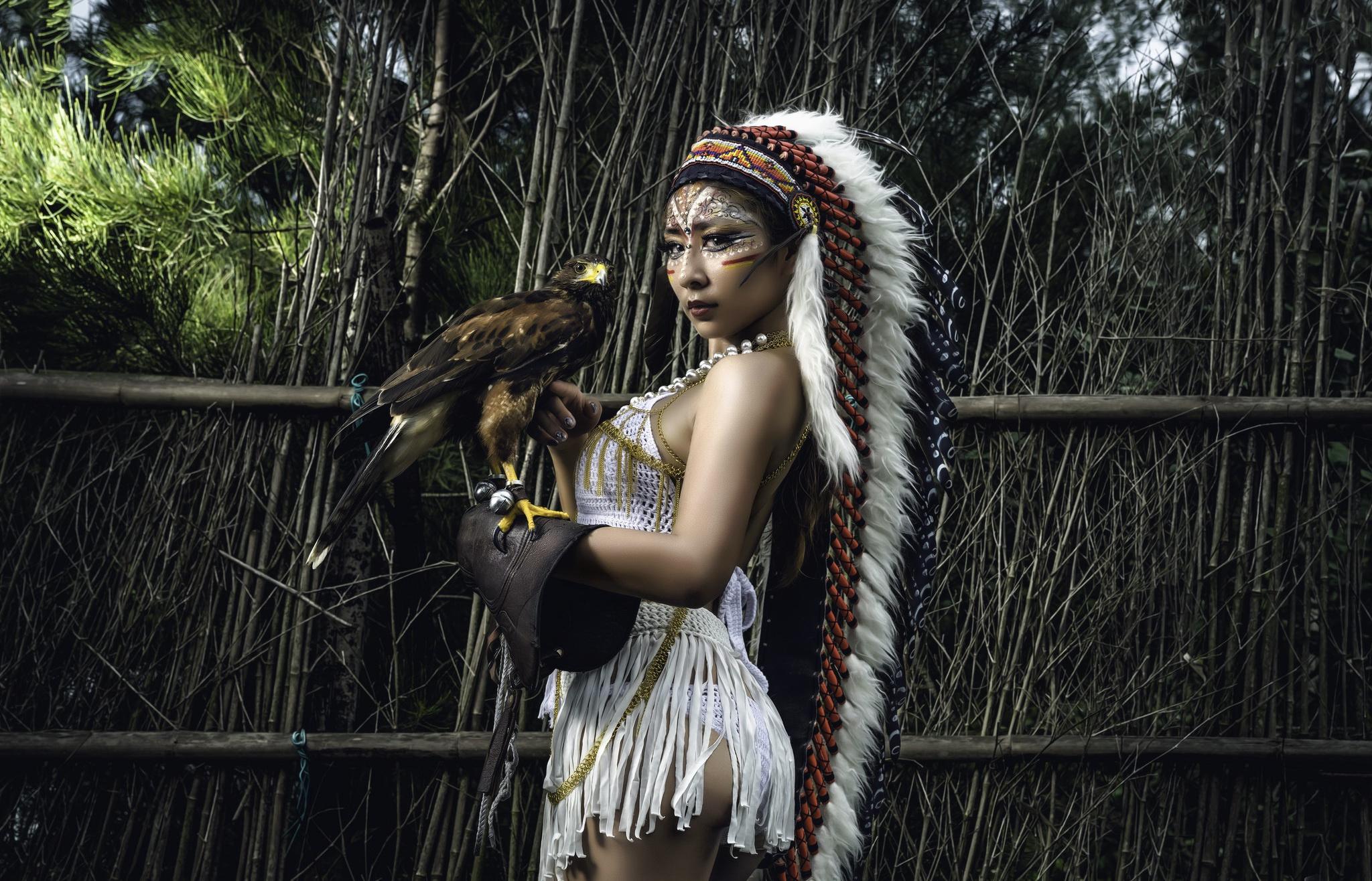 People 2048x1316 fantasy girl animals Asian birds women Native American clothing sacrilege