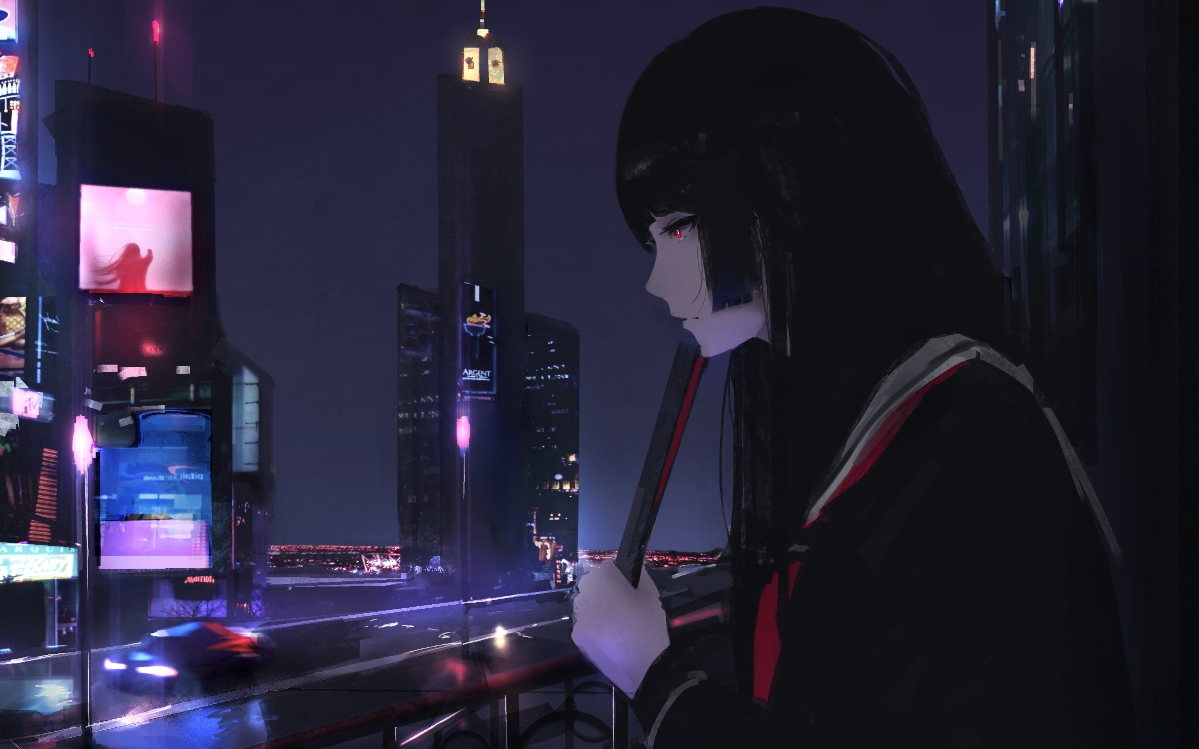 Anime 2366x1479 city night school uniform