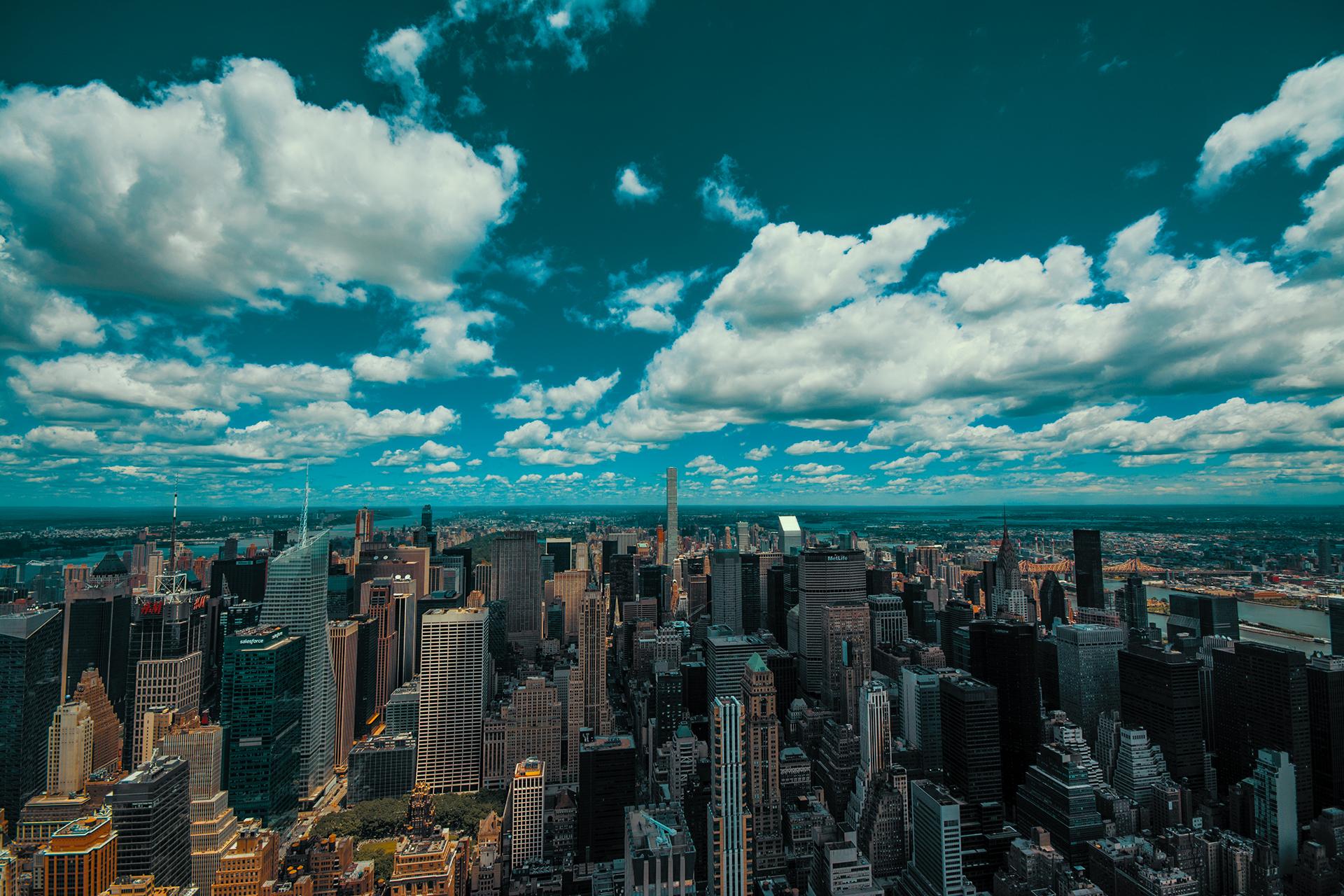General 1920x1280 New York City Empire State Building USA horizon blue sky skyscraper Hudson River clouds