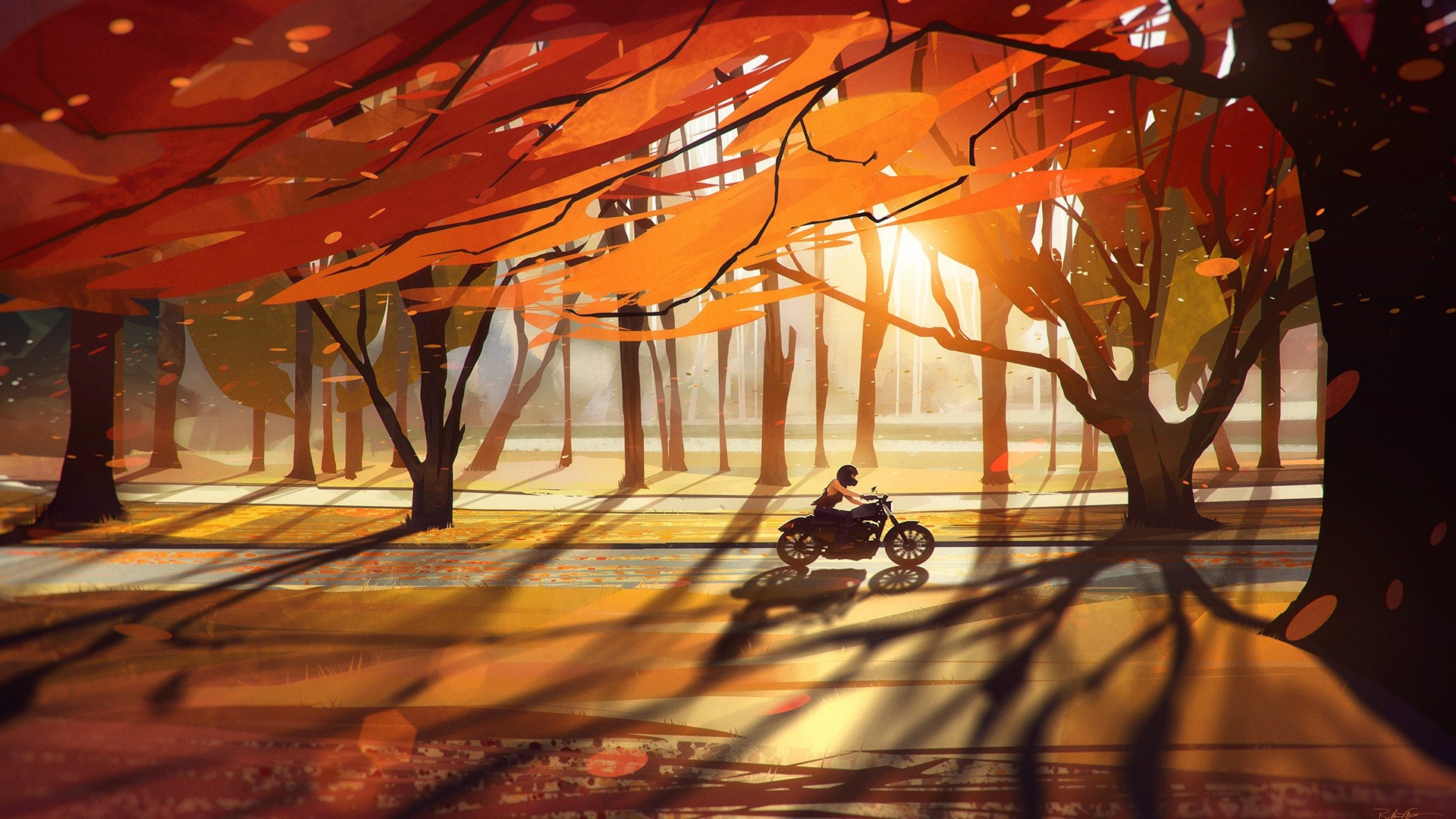 General 1920x1080 Heavy bike nature sunset road artwork fall motorcycle trees vehicle