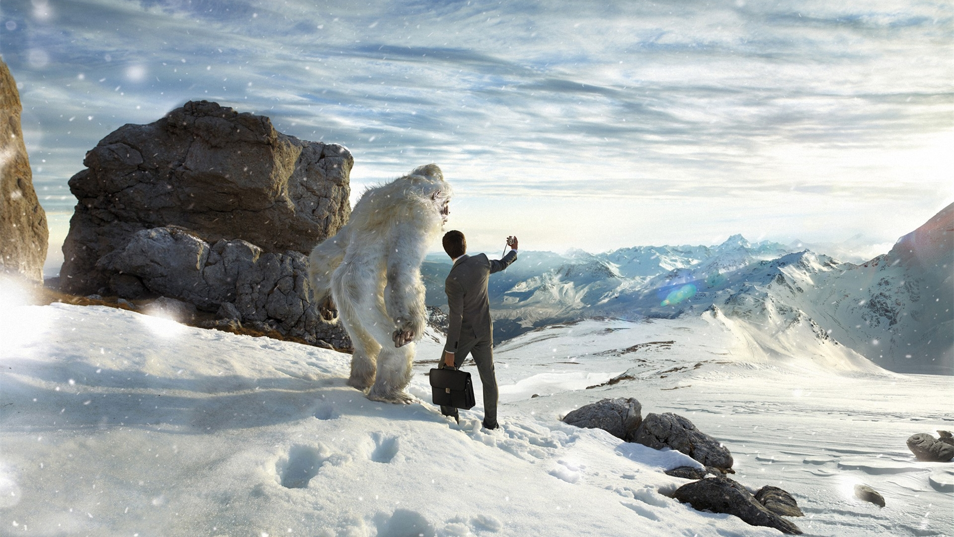 People 1920x1080 Photoshop photo manipulation animals nature humor selfies Yeti snowing snow mountains