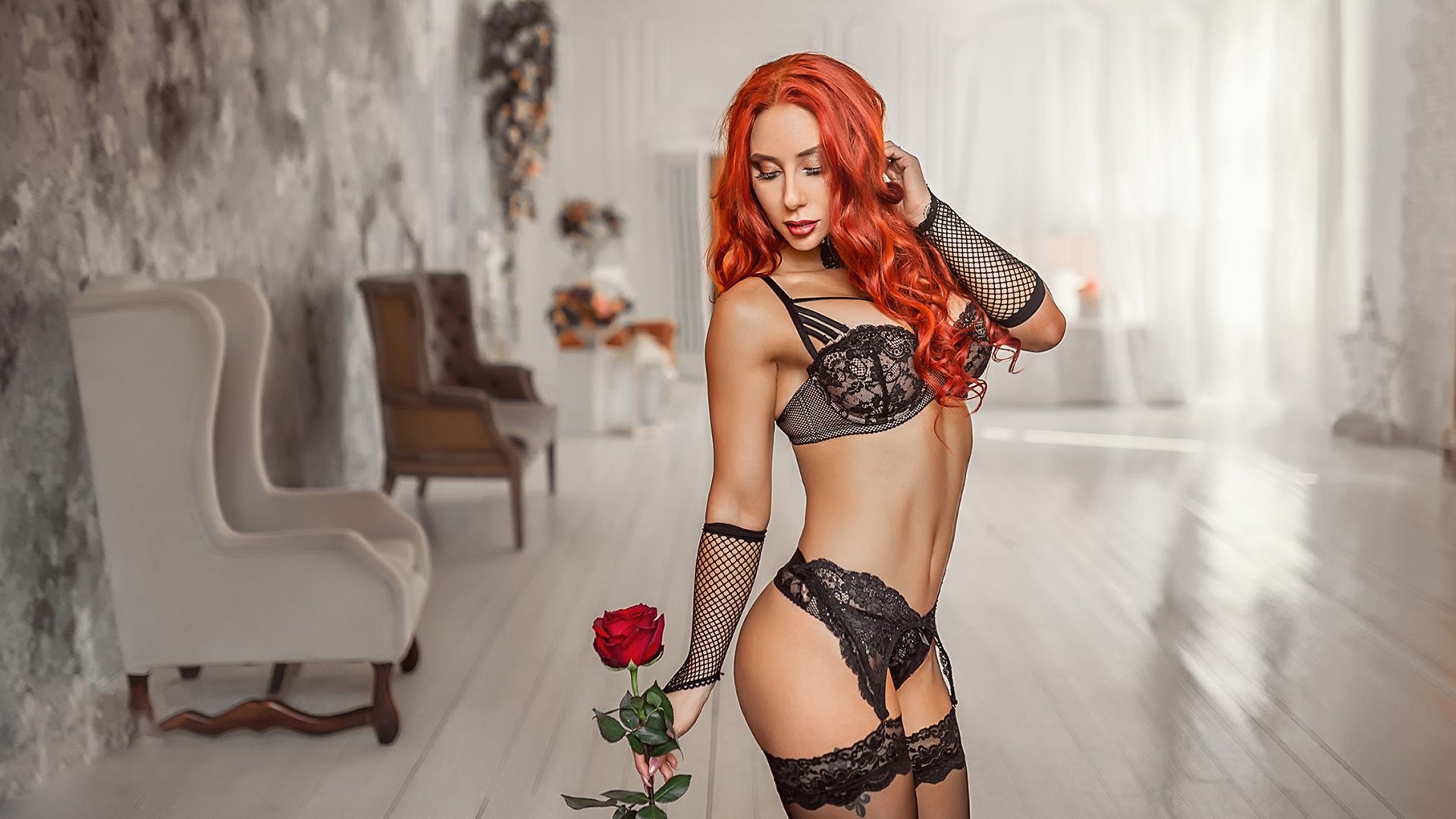 People 1920x1080 bra black stockings Eva Rudneva black bras redhead closed eyes stockings rose garter belt fake eyelashes black panties black gloves black lingerie lingerie