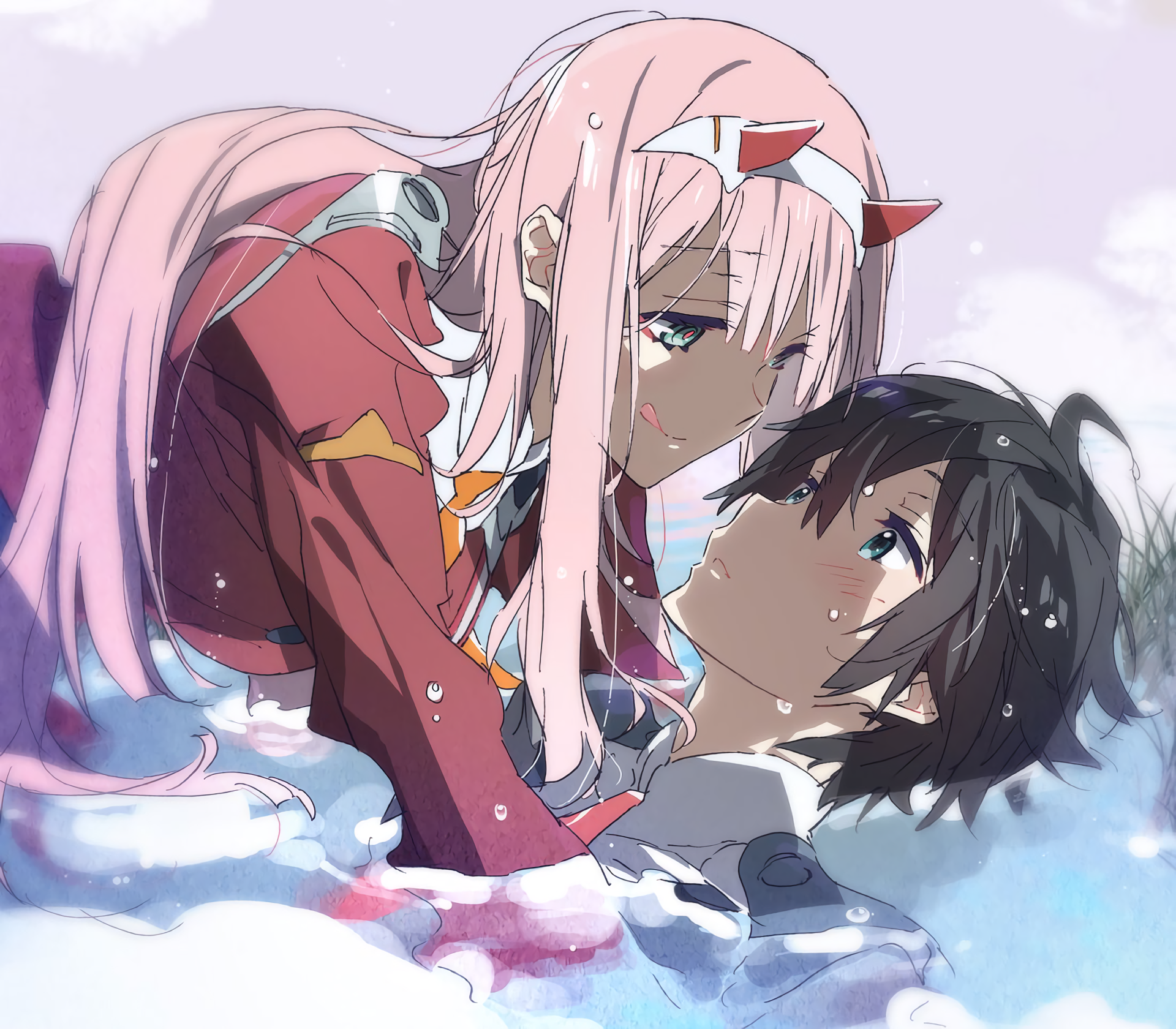 Anime 1920x1680 Darling in the FranXX Zero Two (Darling in the FranXX) Code:016 (Hiro)  pink hair