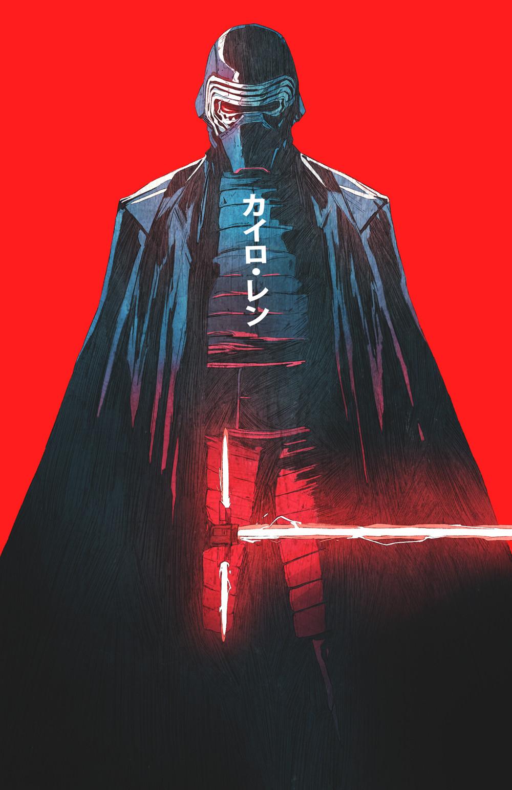 General 1000x1544 Chun Lo drawing Star Wars lightsaber Kylo Ren vertical