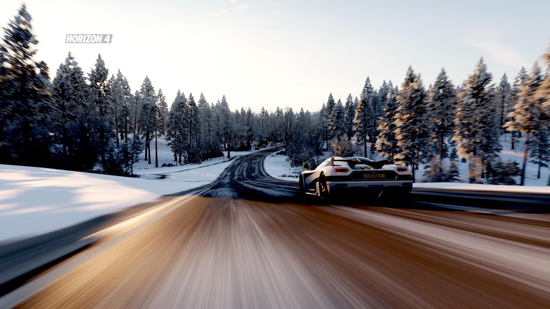 General 1920x1080 Forza Horizon 4 landscape Video Game Landscape car Koenigsegg Koenigsegg Agera RS snow white