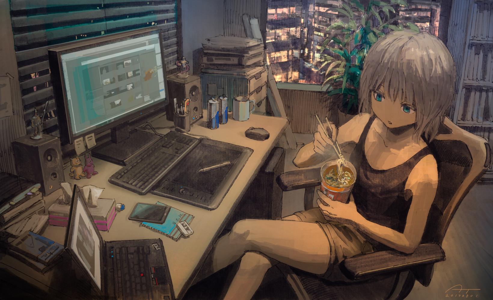 Anime 1640x1000 loneliness alone computer drawer grey hair short hair food anime girls Tokunaga Akimasa