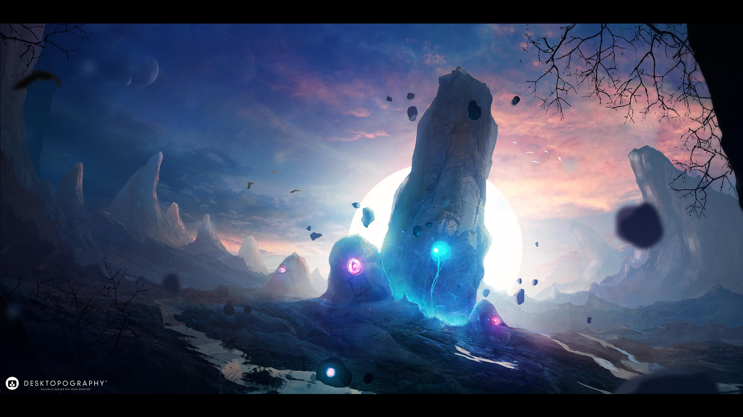 General 2560x1440 Desktopography space science fiction digital planet fantasy art landscape