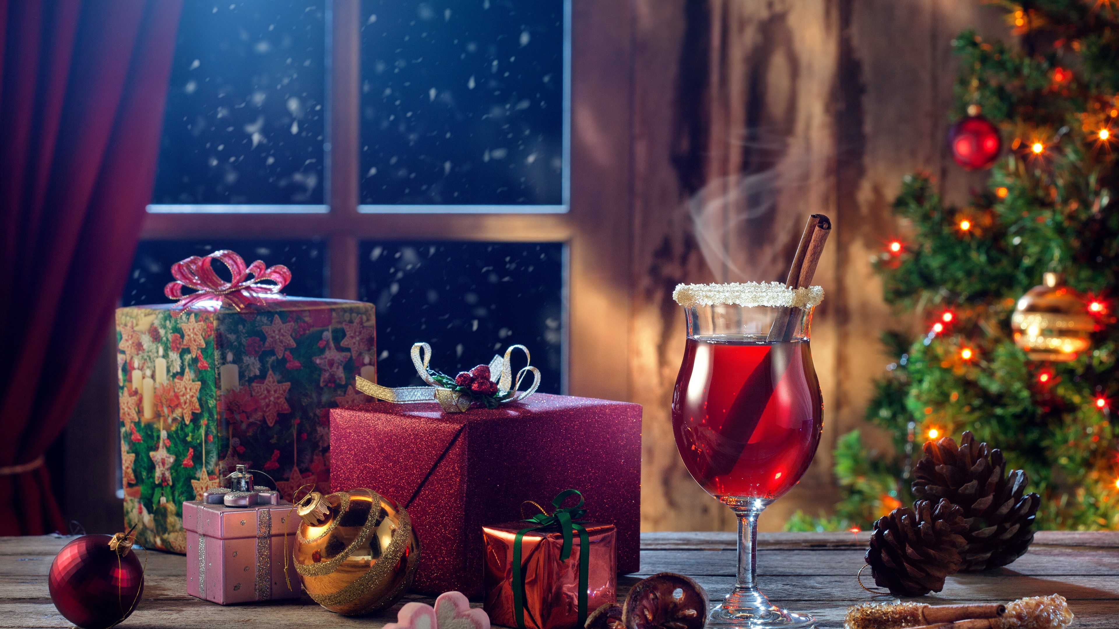 General 3840x2160 holiday stars Christmas Christmas ornaments  presents