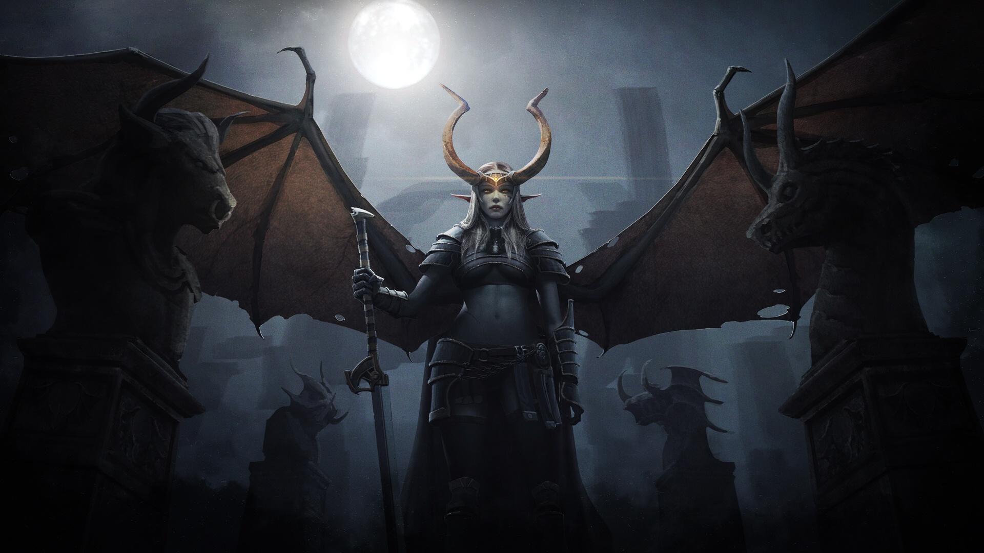 General 1920x1080 dark warrior fantasy art fantasy girl wings frontal view centered low-angle belly underboob horns statue bust moonlight women pointy ears sword artwork lights