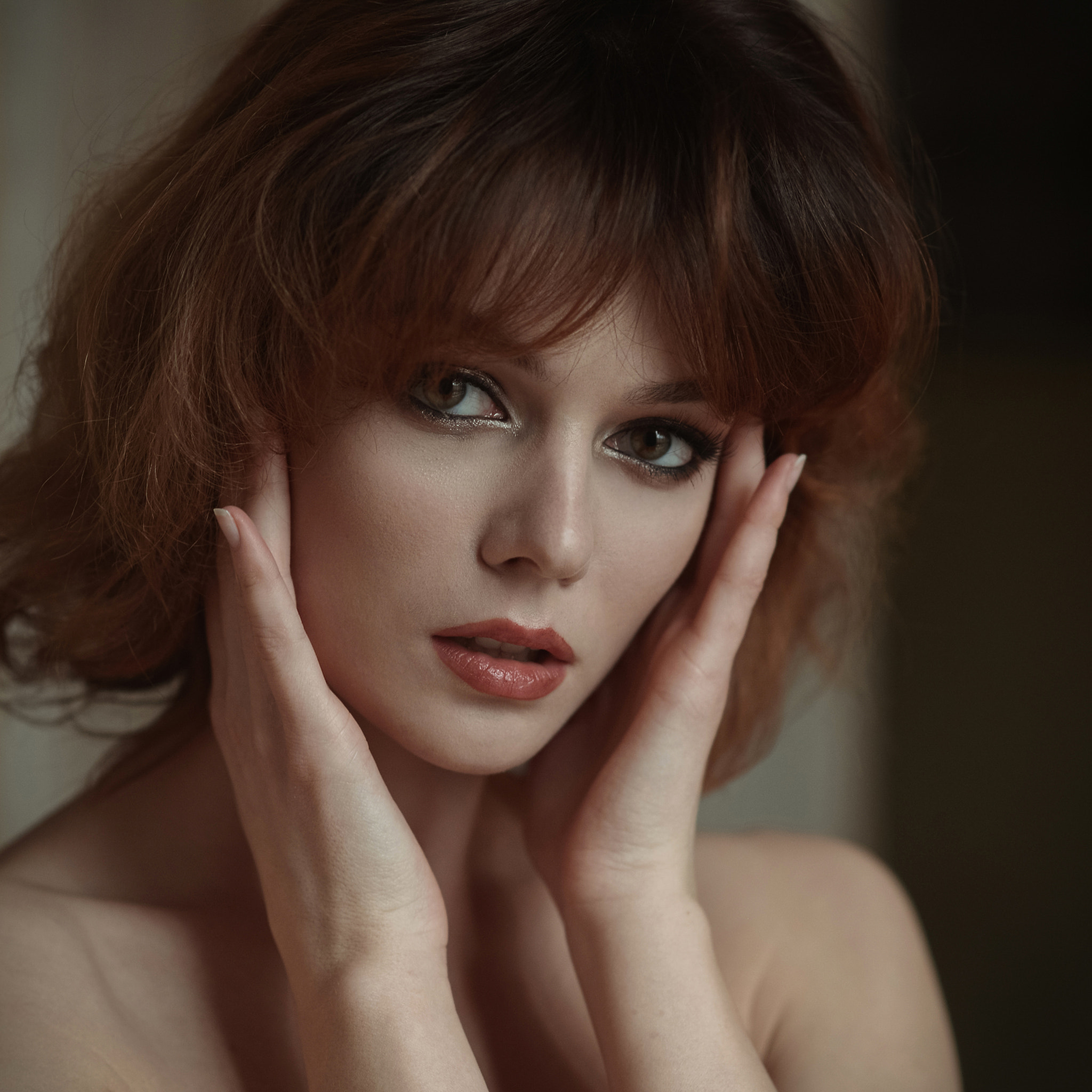 People 2048x2048 Dmitry Levykin women brunette short hair makeup eyeshadow eyeliner lipstick hand on face looking at viewer portrait