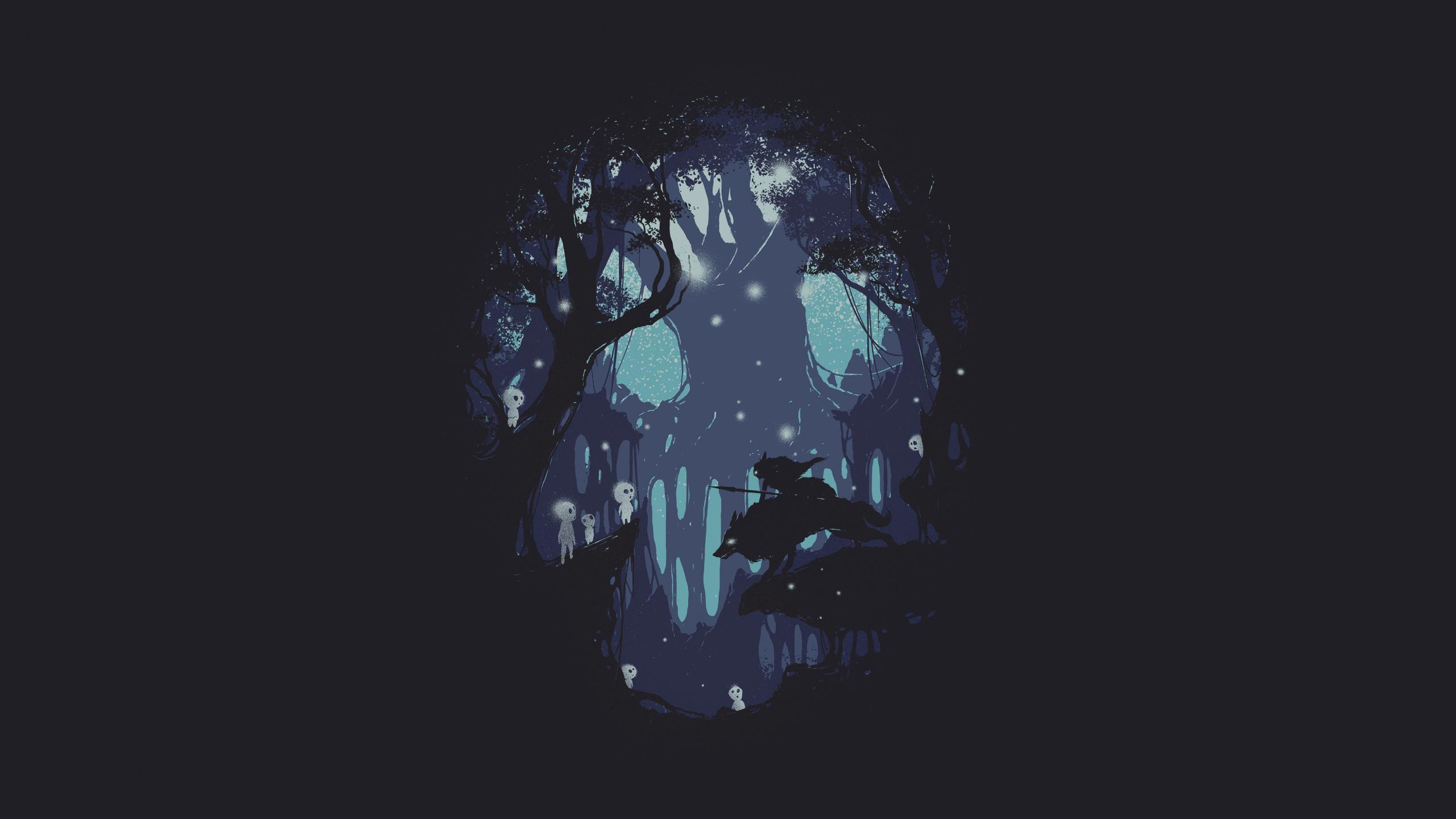 Anime 2560x1440 wolf dark silhouette trees Princess Mononoke forest