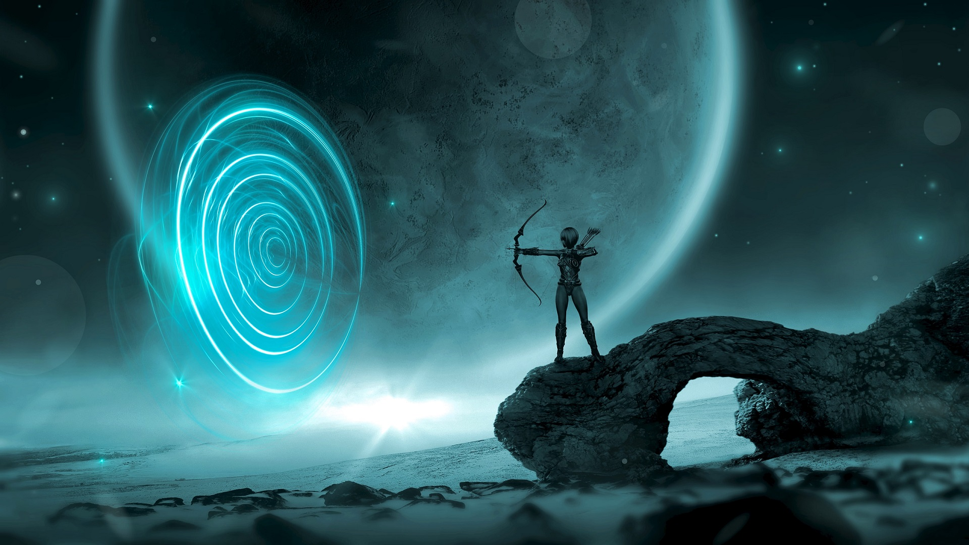 General 1920x1080 artwork fantasy art archer bow arrows space planet circle cyan
