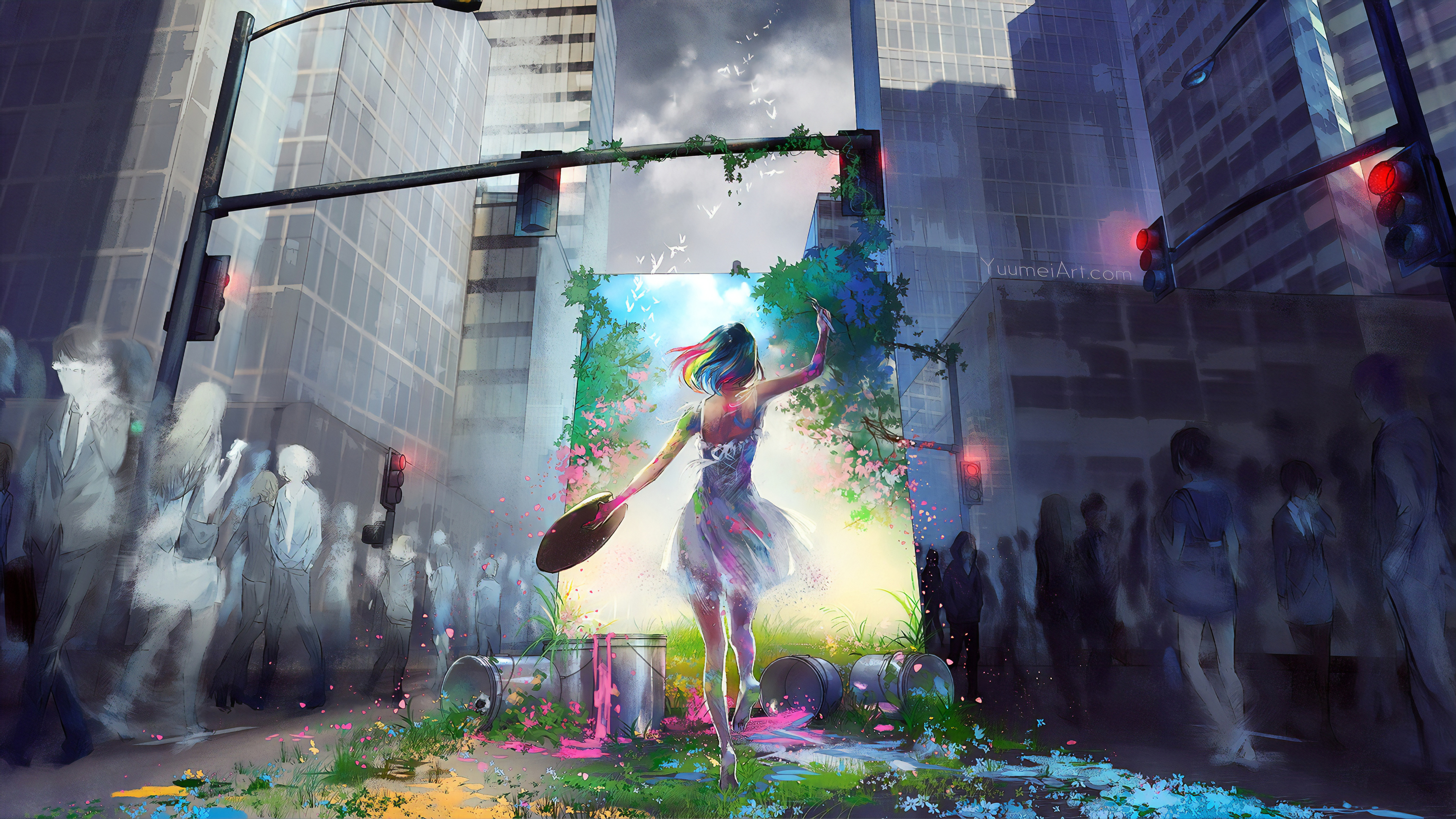 Anime 3840x2160 digital digital art artwork anime anime girls drawing pencil drawing digital painting painting landscape city cityscape people street colorful nature architecture building Yuumei fantasy art outdoors women fantasy girl plants paint brushes sky skyscraper skyscape frame dress Rainbow hair painters crowds path traveller
