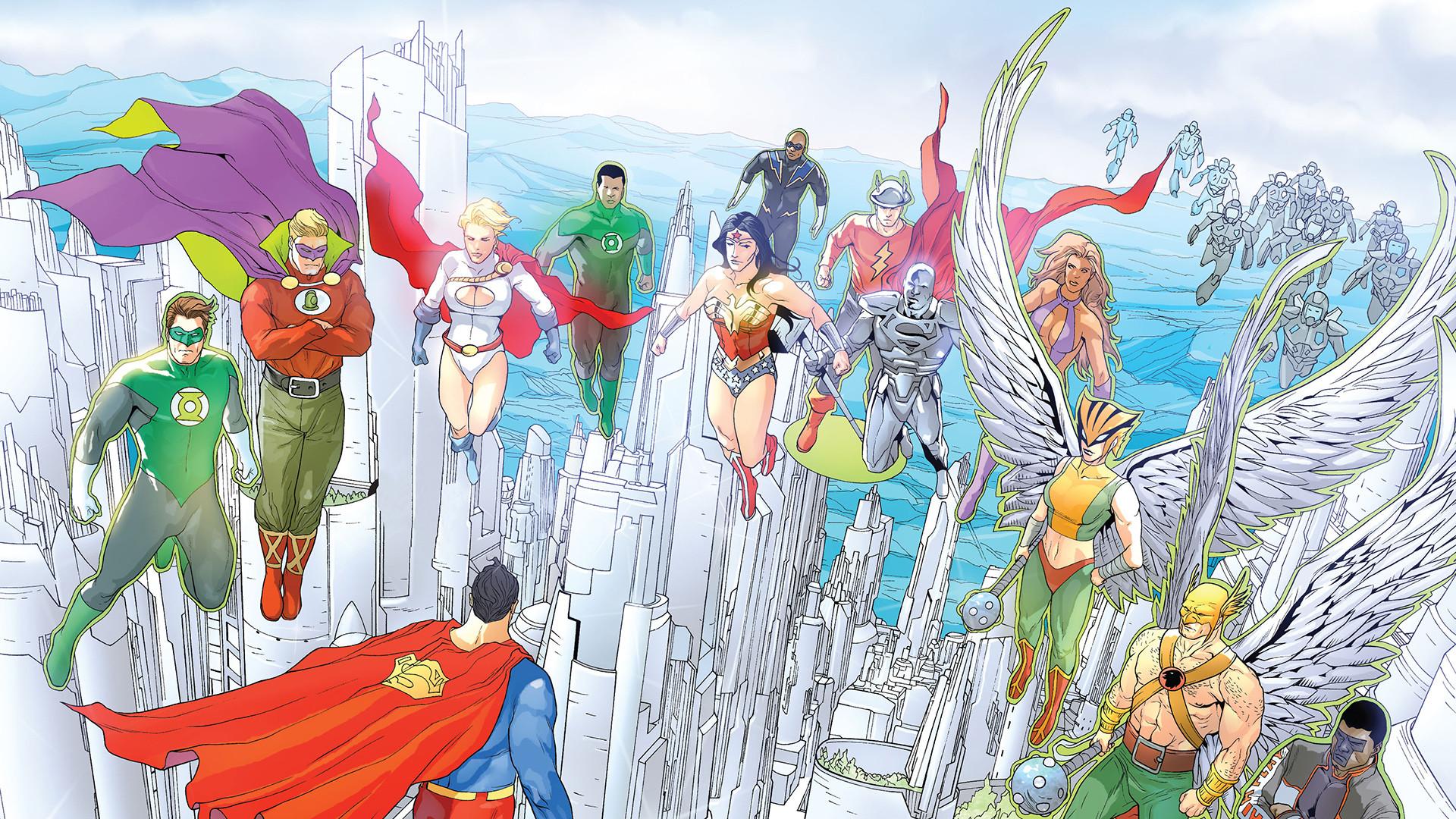 General 1920x1080 DC Comics Justice League Hal Jordan Alan Scott John Stewart Wonder Woman Black Lightning Steel (DC Comics) Jay Garrick Starfire (DC Comics) Hawkgirl Hawkman Mister Terrific Power Girl Green Lantern The Flash Superman