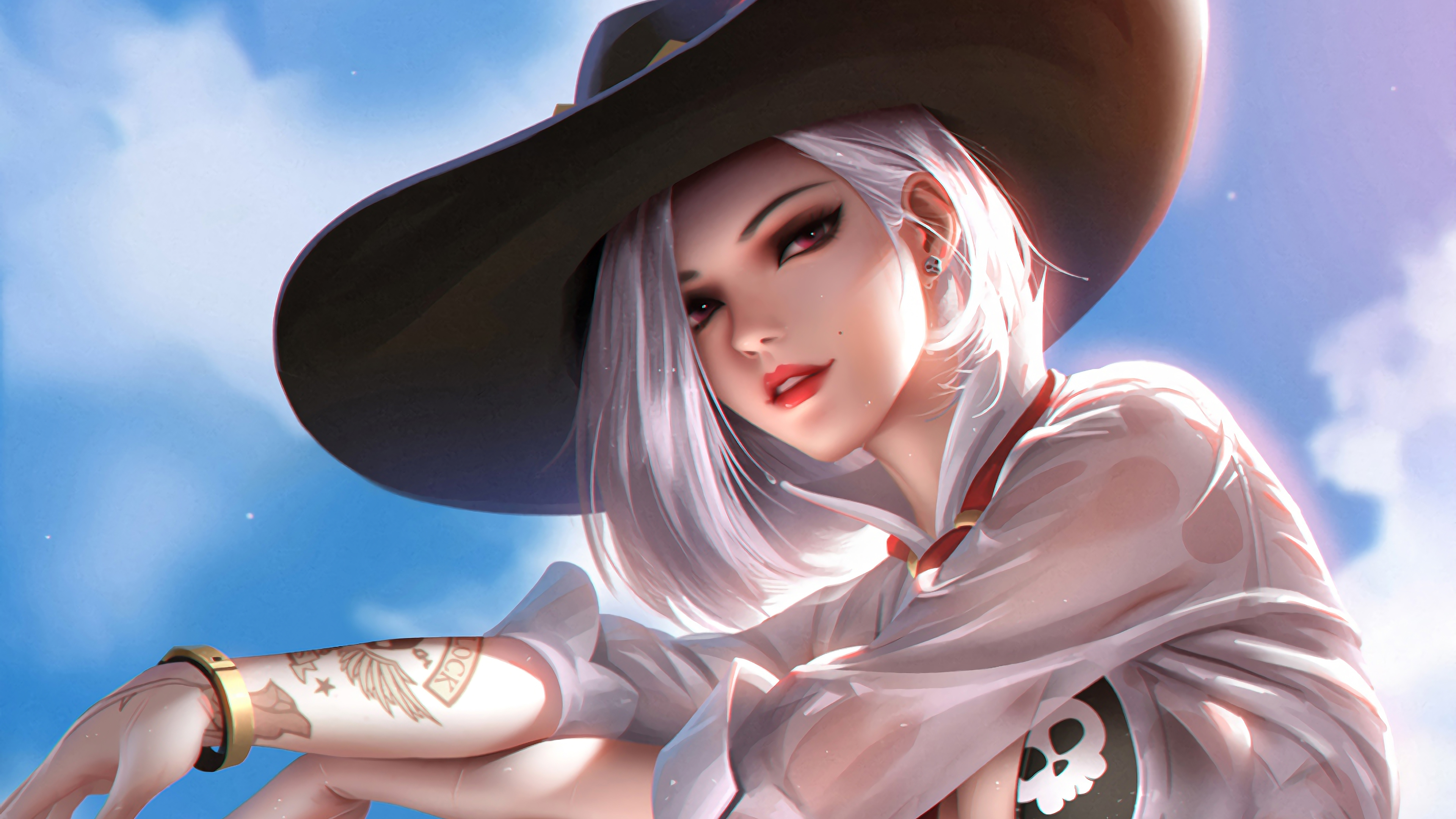 General 3840x2160 digital digital art artwork drawing digital painting fictional fictional character video game art video games video game characters video game girls women fantasy girl character design  Overwatch Blizzard Entertainment environment illustration Ashe Ashe (Overwatch) white hair red eyes summer portrait