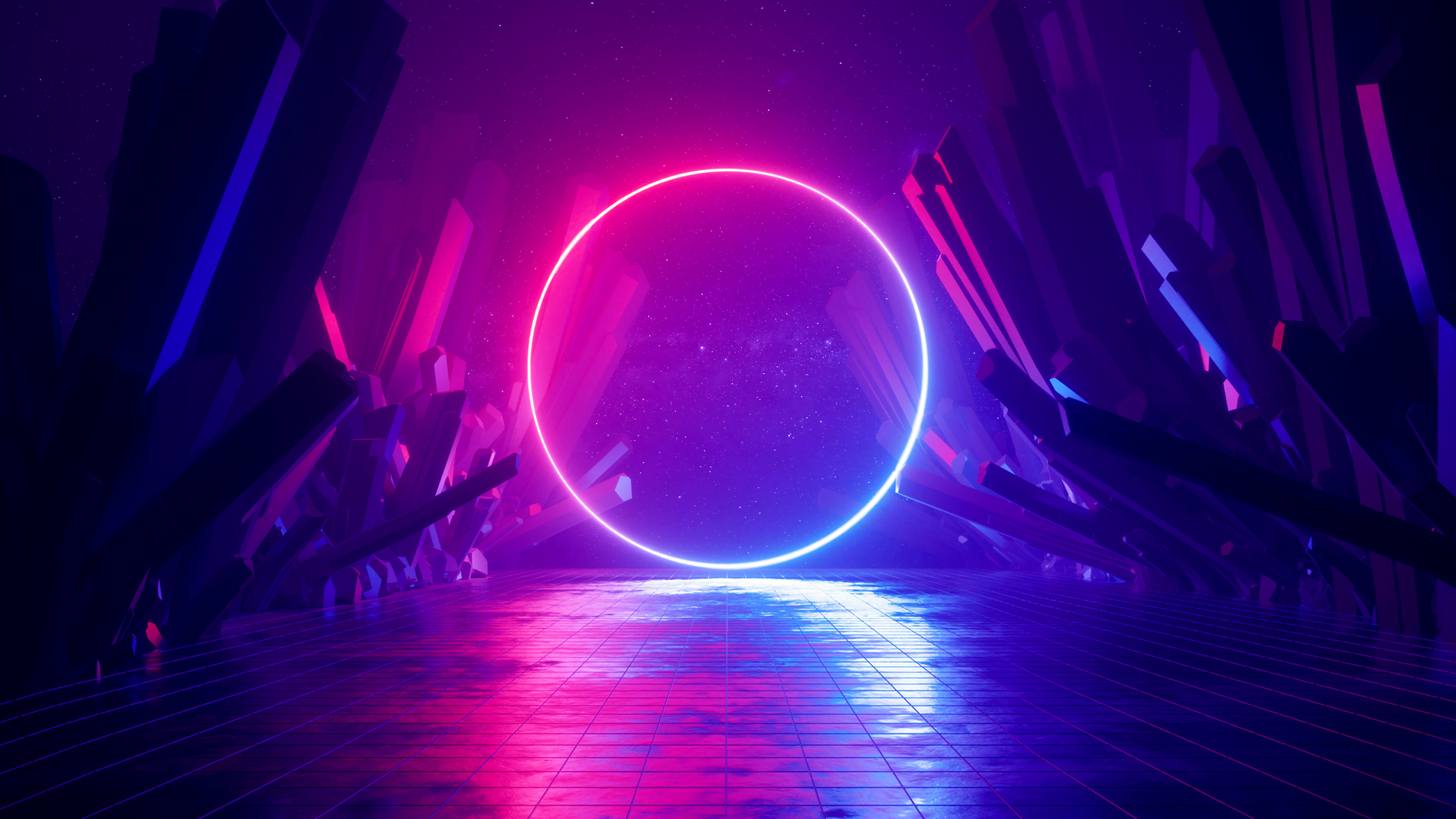 General 3840x2160 digital art illustration abstract neon neon lights lights reflection colorful glowing neon glow purple blue pink dark shadow rocks circle 3D Abstract space galaxy landscape virtual reality science fiction 3D Ultraviolet rings shards
