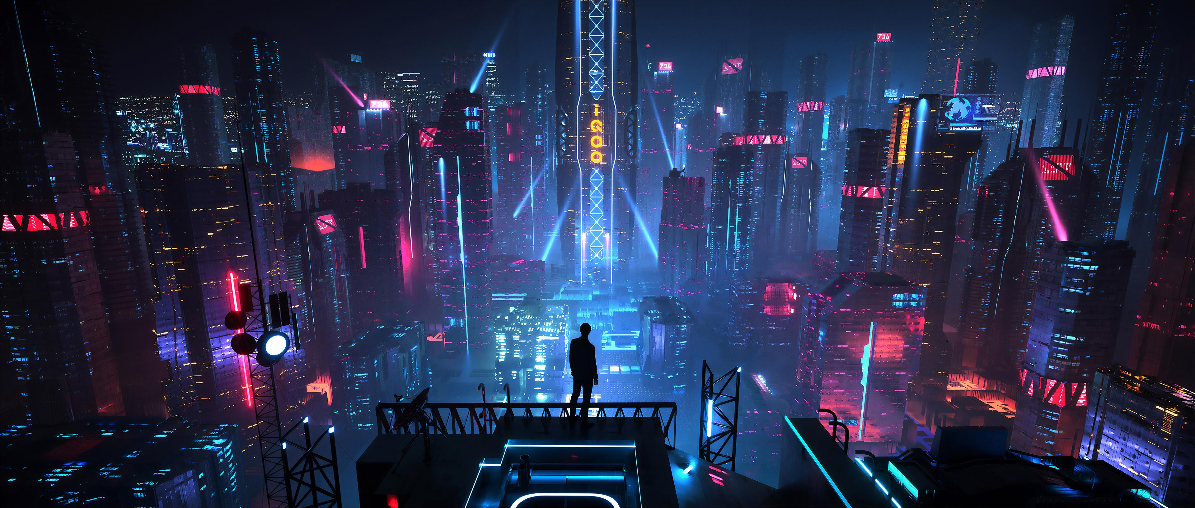 General 3840x1633 digital art men city futuristic night neon science fiction futuristic city cyberpunk Xuteng Pan environment artwork concept art