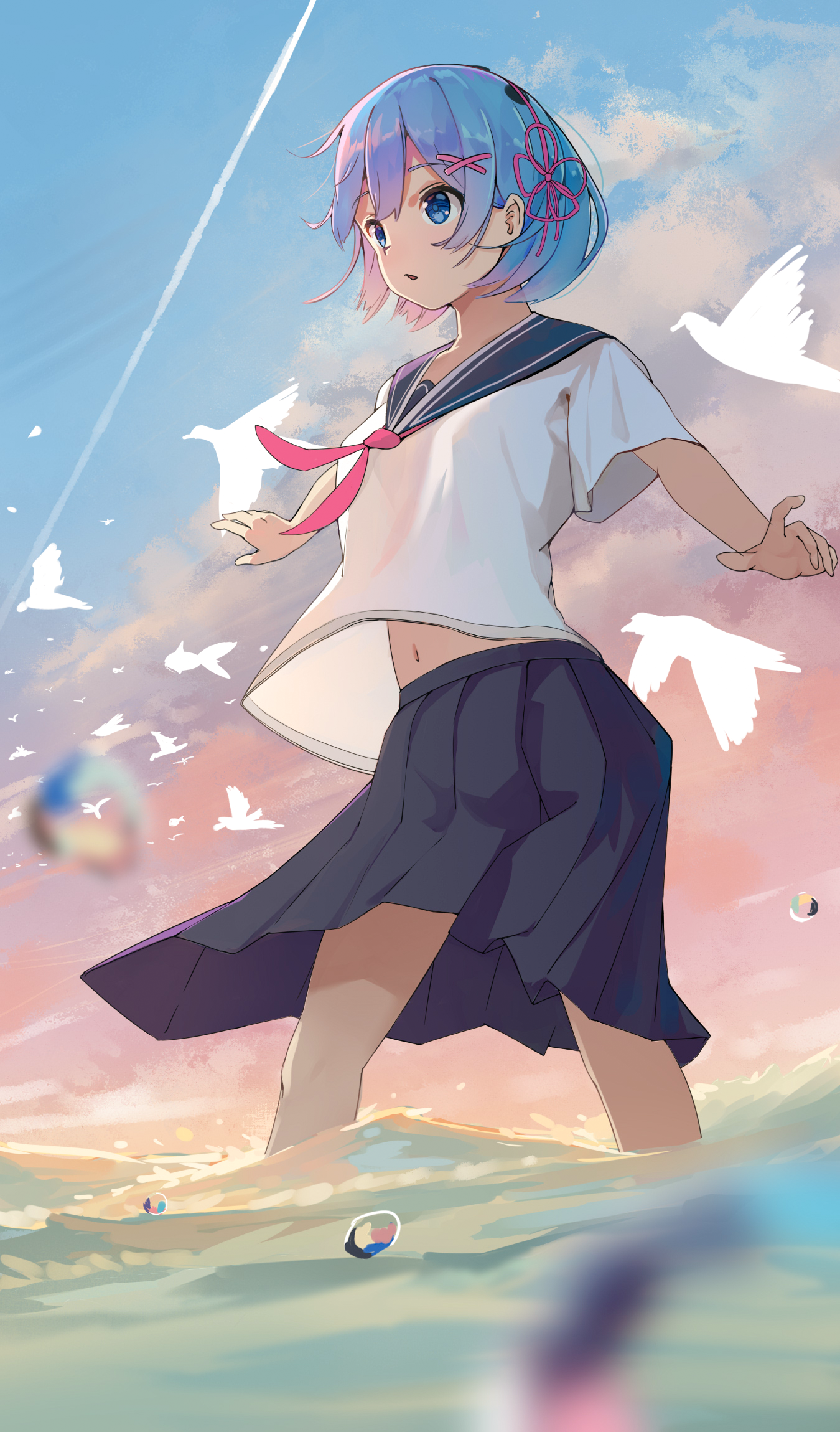 Anime 1350x2300 Re:Zero Kara Hajimeru Isekai Seikatsu anime girls short hair blue hair school uniform fan art blue eyes Rem (Re: Zero) sea vertical