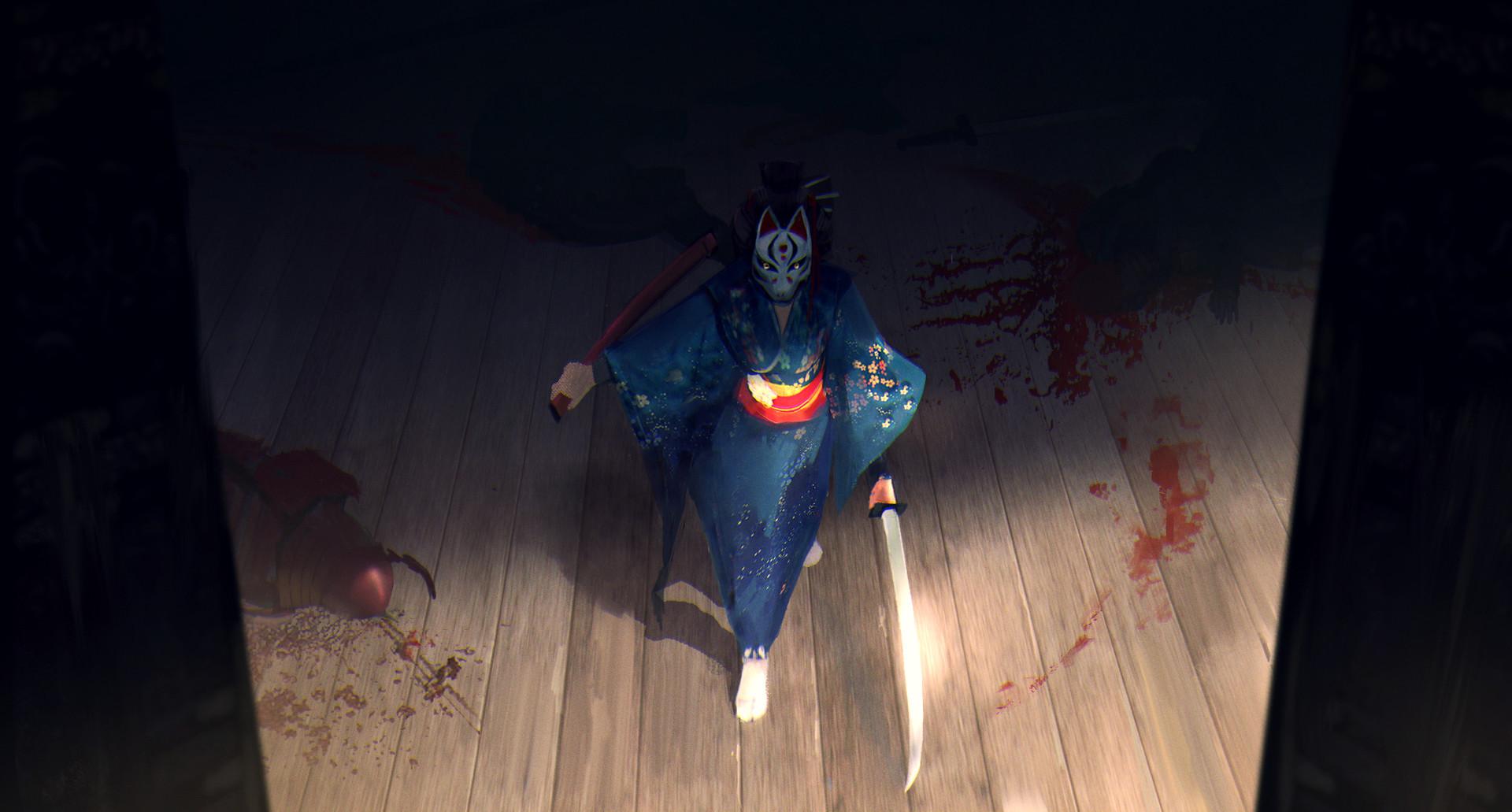 General 1920x1031 Japan fantasy art samurai armor weapon katana blood mask kimono Sangyeop Park high angle