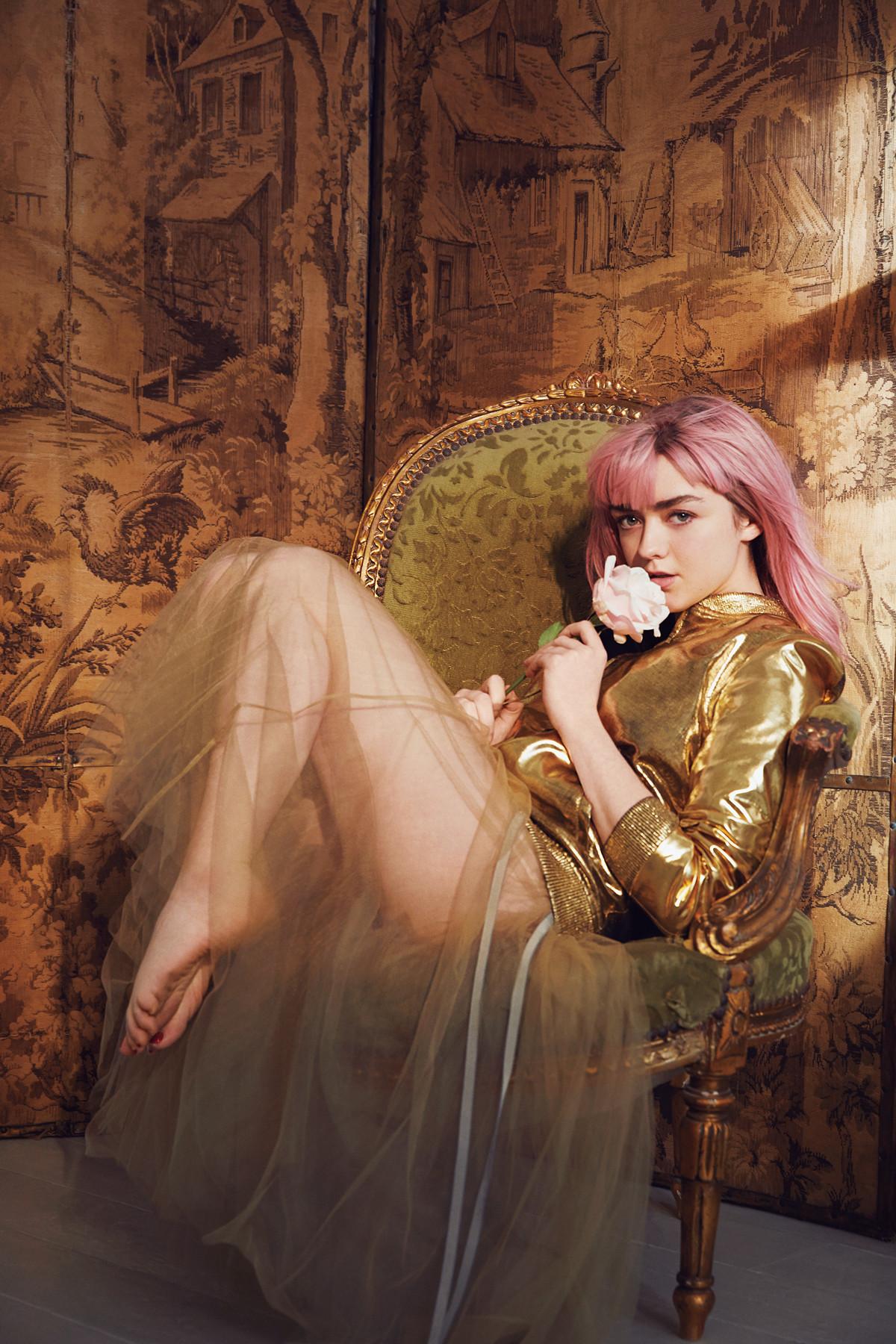 People 1200x1800 Maisie Williams actress women pink hair barefoot painted toenails sitting feet