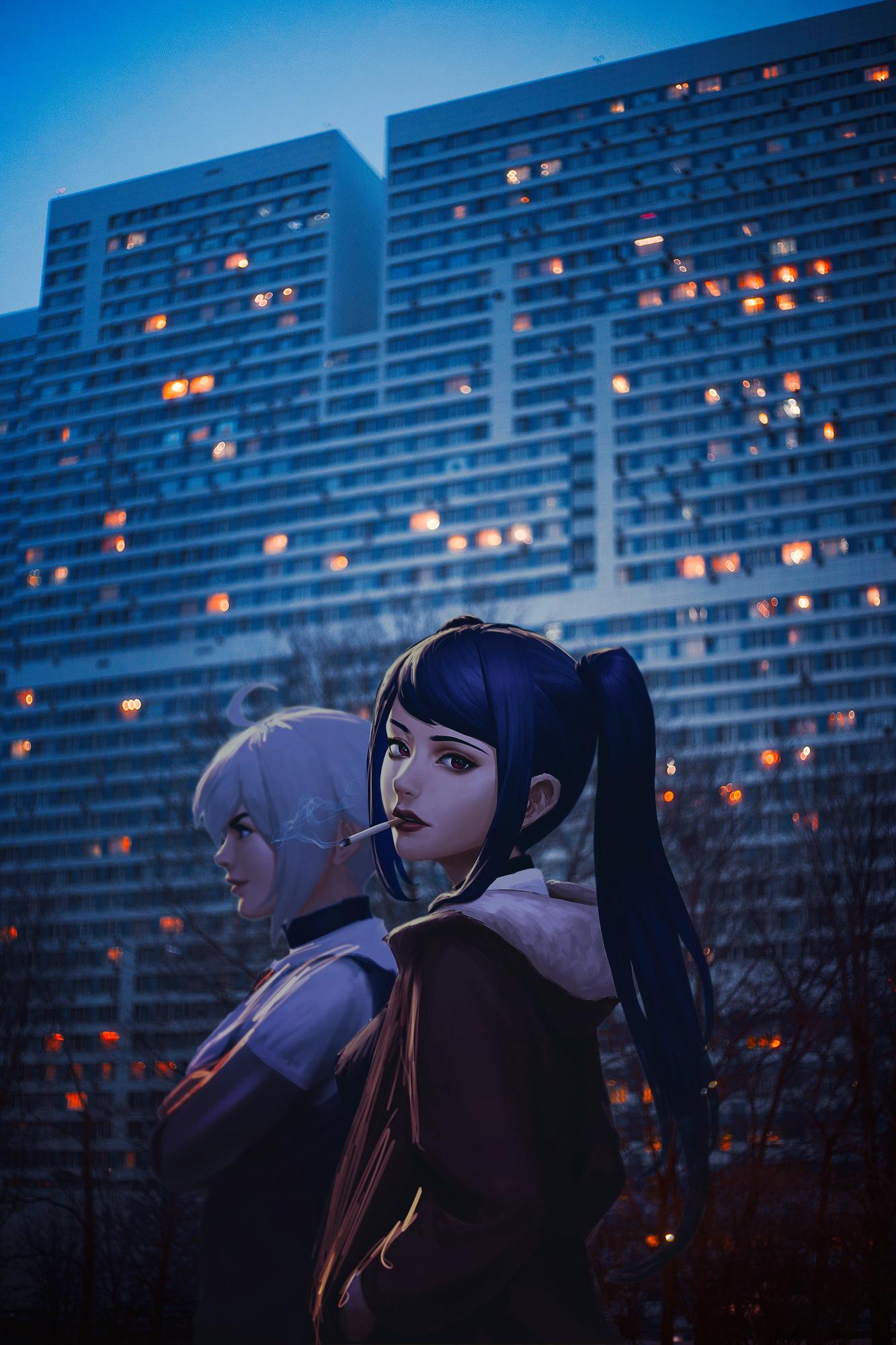 Anime 1333x2000 va-11 hall-a anime 2D Russia red eyes blue hair cigarettes hands in pockets lipstick smoking Julianne Stingray Dana Zane