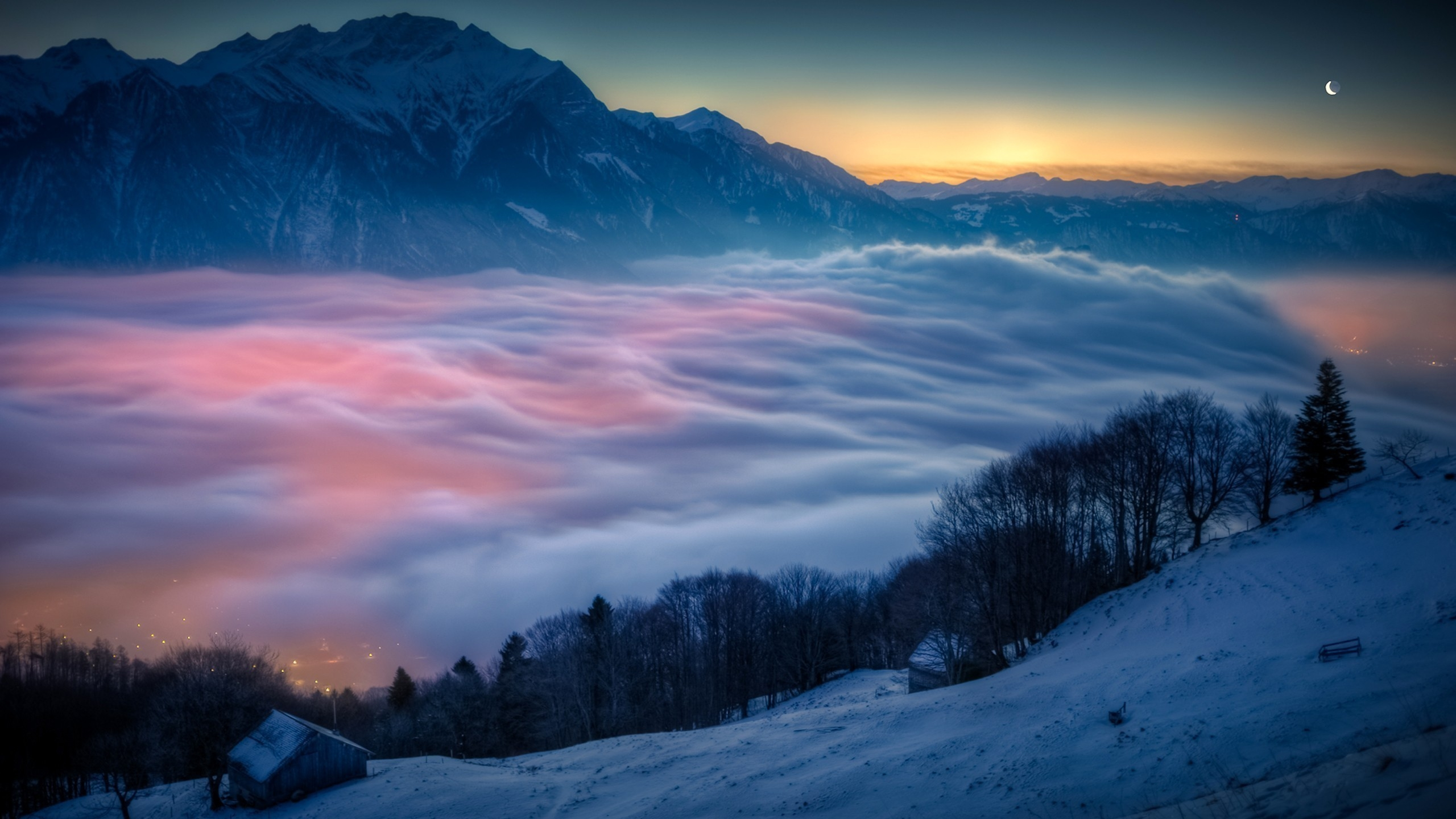 General 2560x1440 clouds mountains winter snow sunset Moon Switzerland cold ice