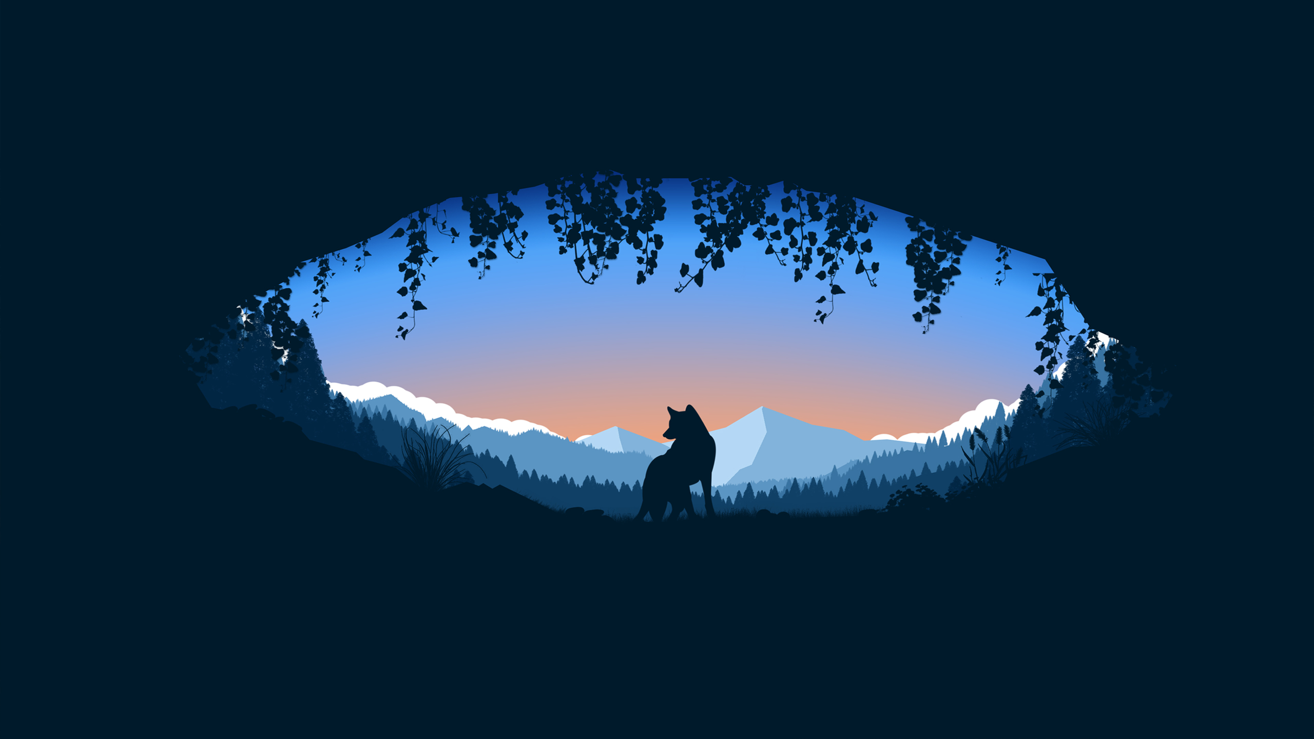 General 2560x1440 digital art fox landscape nature fantasy art minimalism artwork animals plants dark