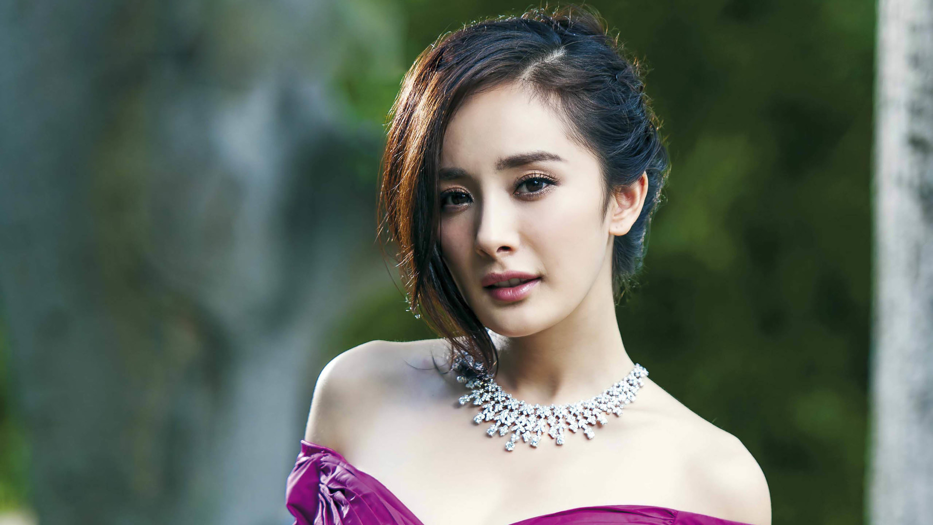 People 1920x1080 woman angel China women brunette Asian portrait shoulder length hair strapless dress yang mi