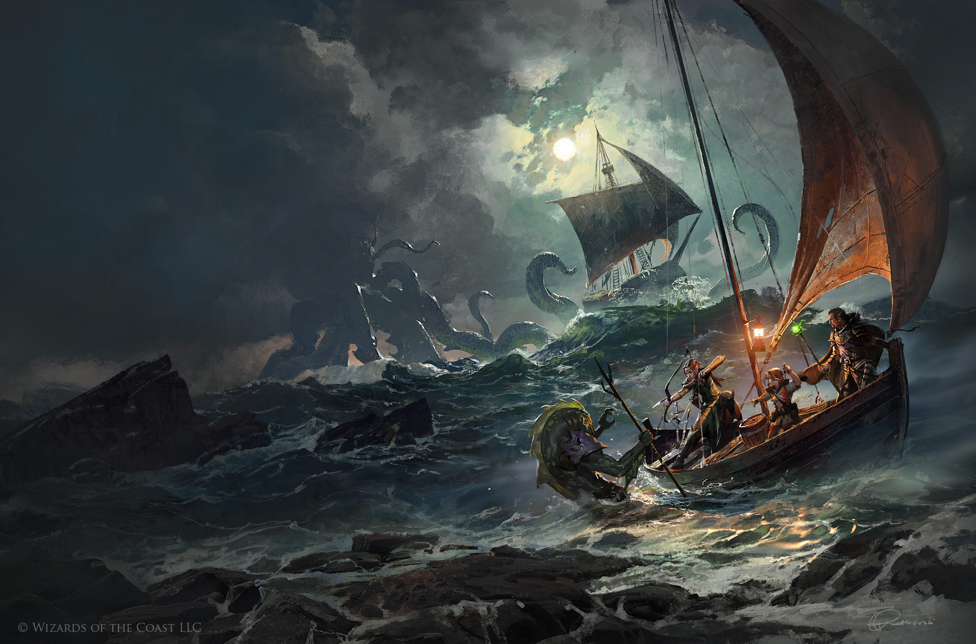 General 1920x1267 fantasy art sea monsters boat sea waves ship Cthulhu