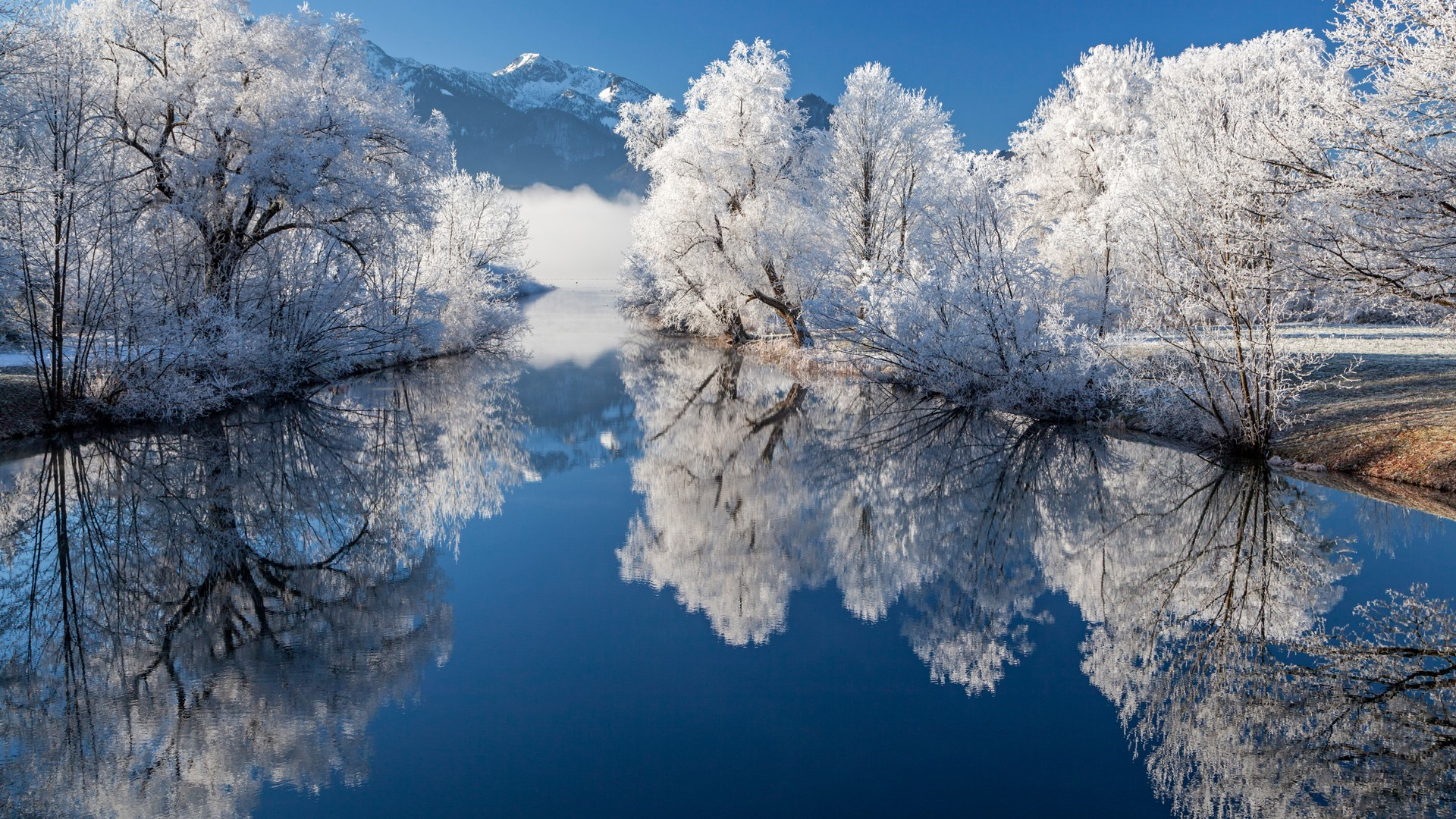 General 1920x1080 nature landscape trees river snow mountains grass Loisach River Bavaria Germany reflection frost calm waters
