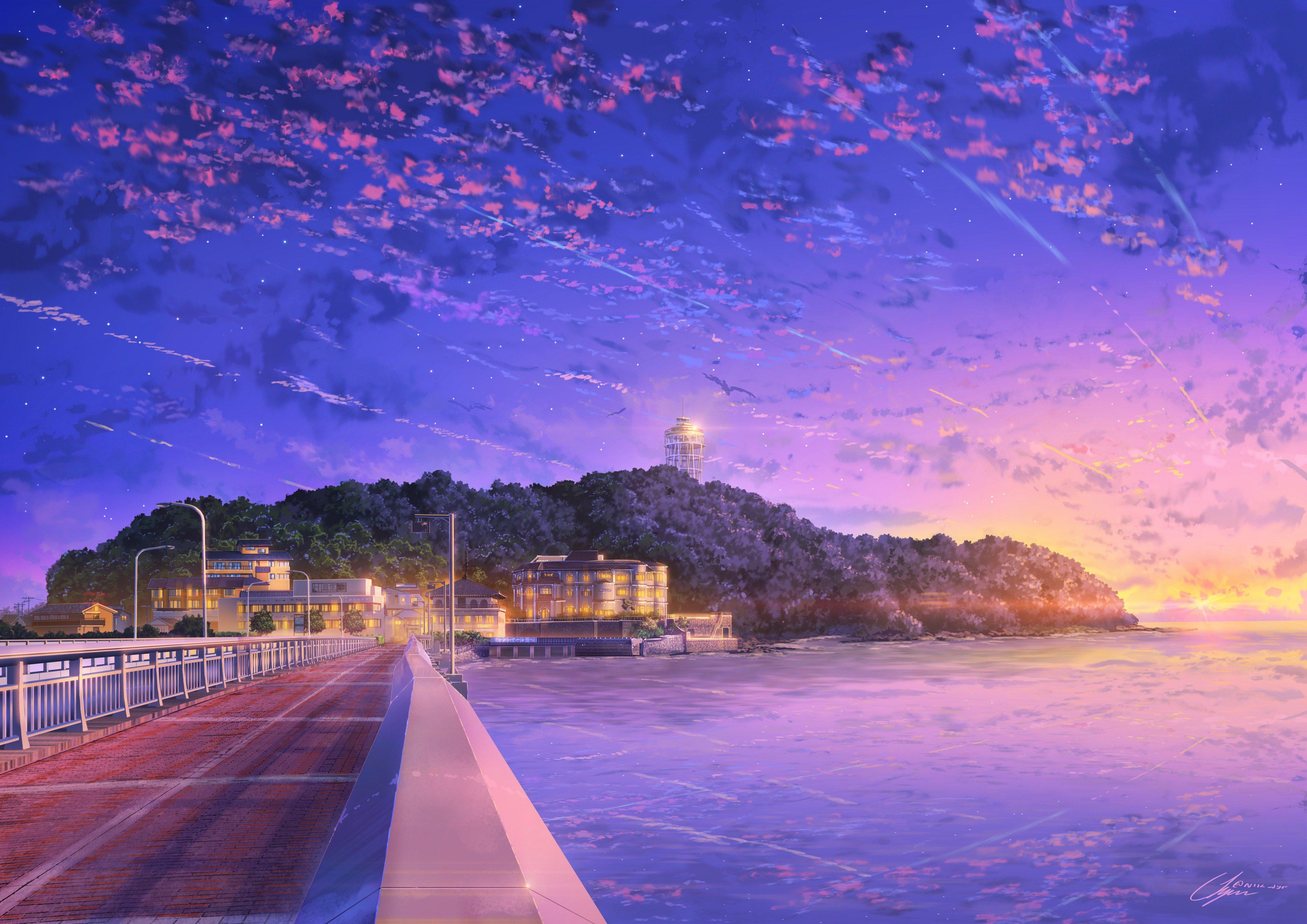 Anime 4000x2828 anime sky Asia water outdoors Japan enoshima