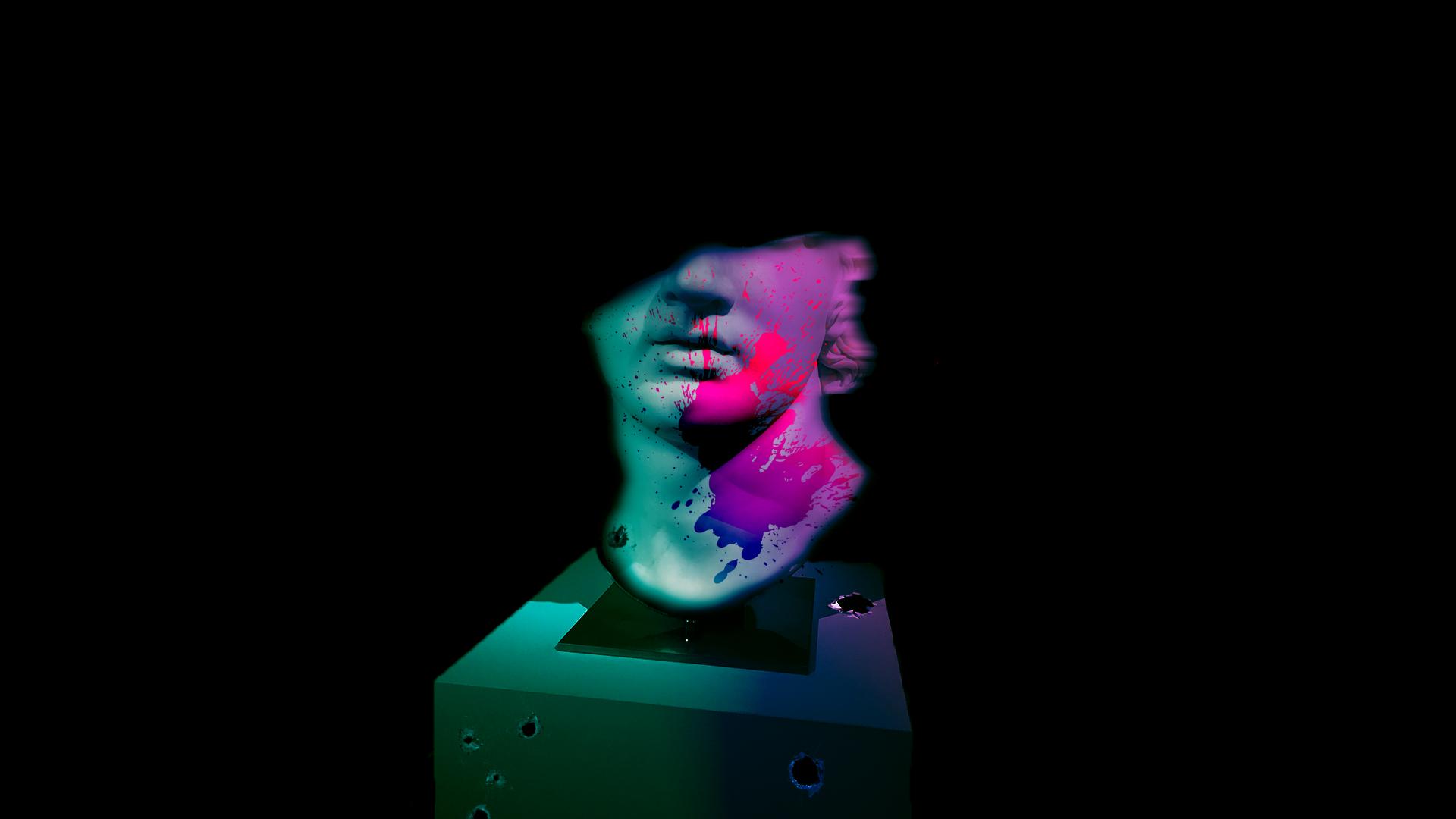 General 1920x1080 statue museum colorful vaporwave