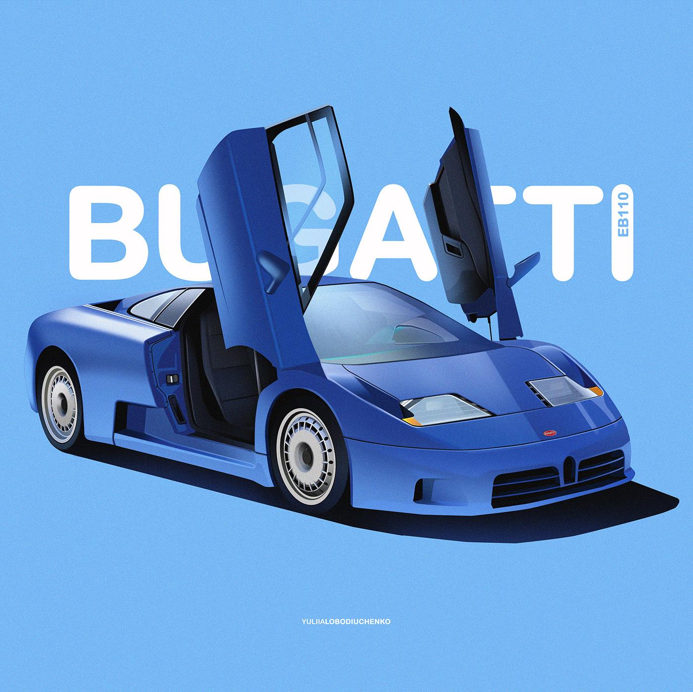 General 1400x1399 car illustration classic car Yuliia Lobodiuchenko Bugatti Bugatti EB110 open door simple background typography