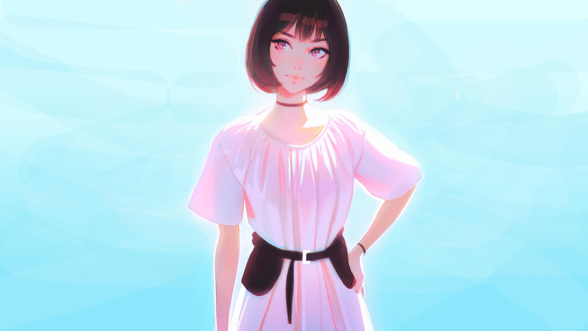 Anime 1920x1080 digital art anime girls fantasy art artwork original characters schoolgirl minimalism Ilya Kuvshinov
