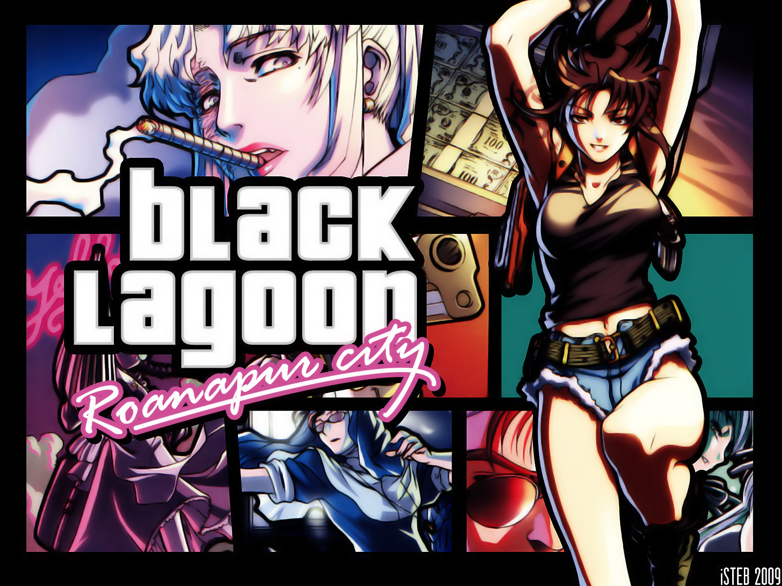 Anime 1600x1200 Black Lagoon Grand Theft Auto Vice City parody girls with guns women with umbrella inked girls maid outfit big boobs jean shorts bare shoulders black tops long hair smoking ponytail 2D anime girls smiling thighs thick thigh thigh high boots Revy Roberta Balalaika Eda underboob revolver no bra black hair brunette blond hair open mouth looking at viewer looking away brown eyes jumping scars messy hair nun's habit cigars fan art belly button curvy anime