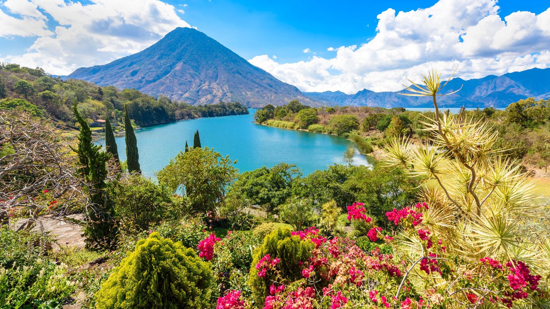 General 1920x1080 nature landscape mountains clouds trees plants flowers lake sky Guatemala Lago de Atitlán Lake Atitlán